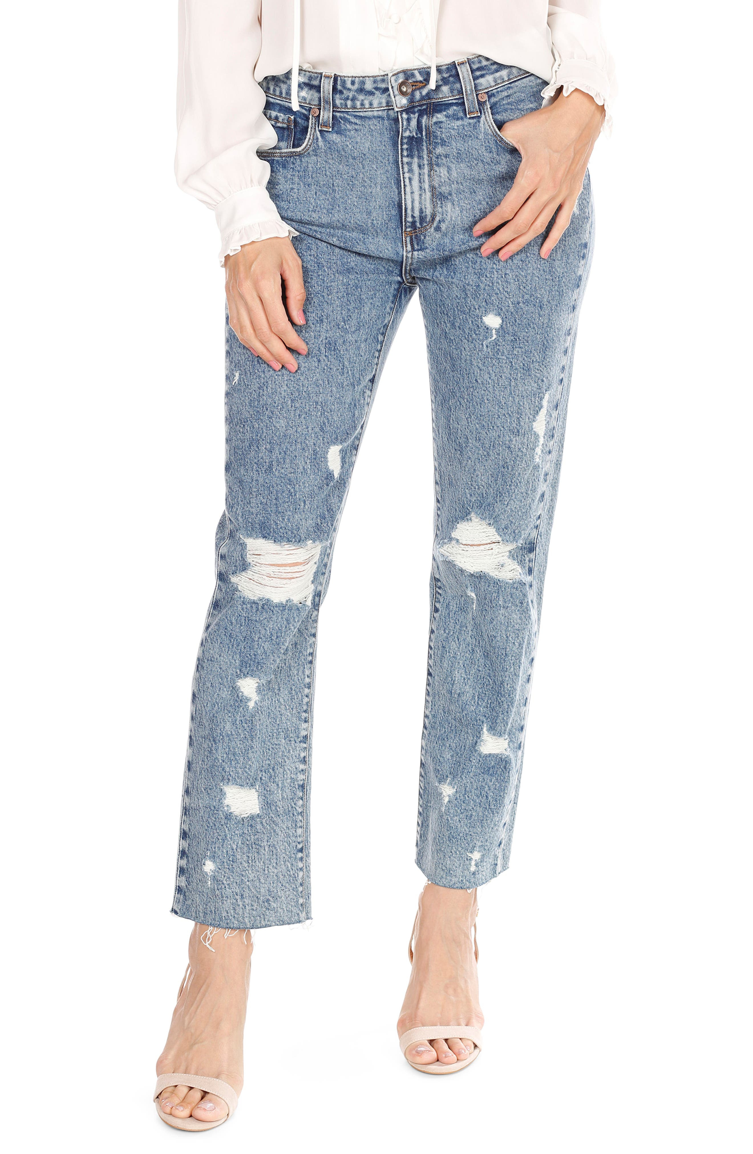 Noella Straight Leg Crop Jeans,                             Main thumbnail 1, color,                             Westlyn Destructed