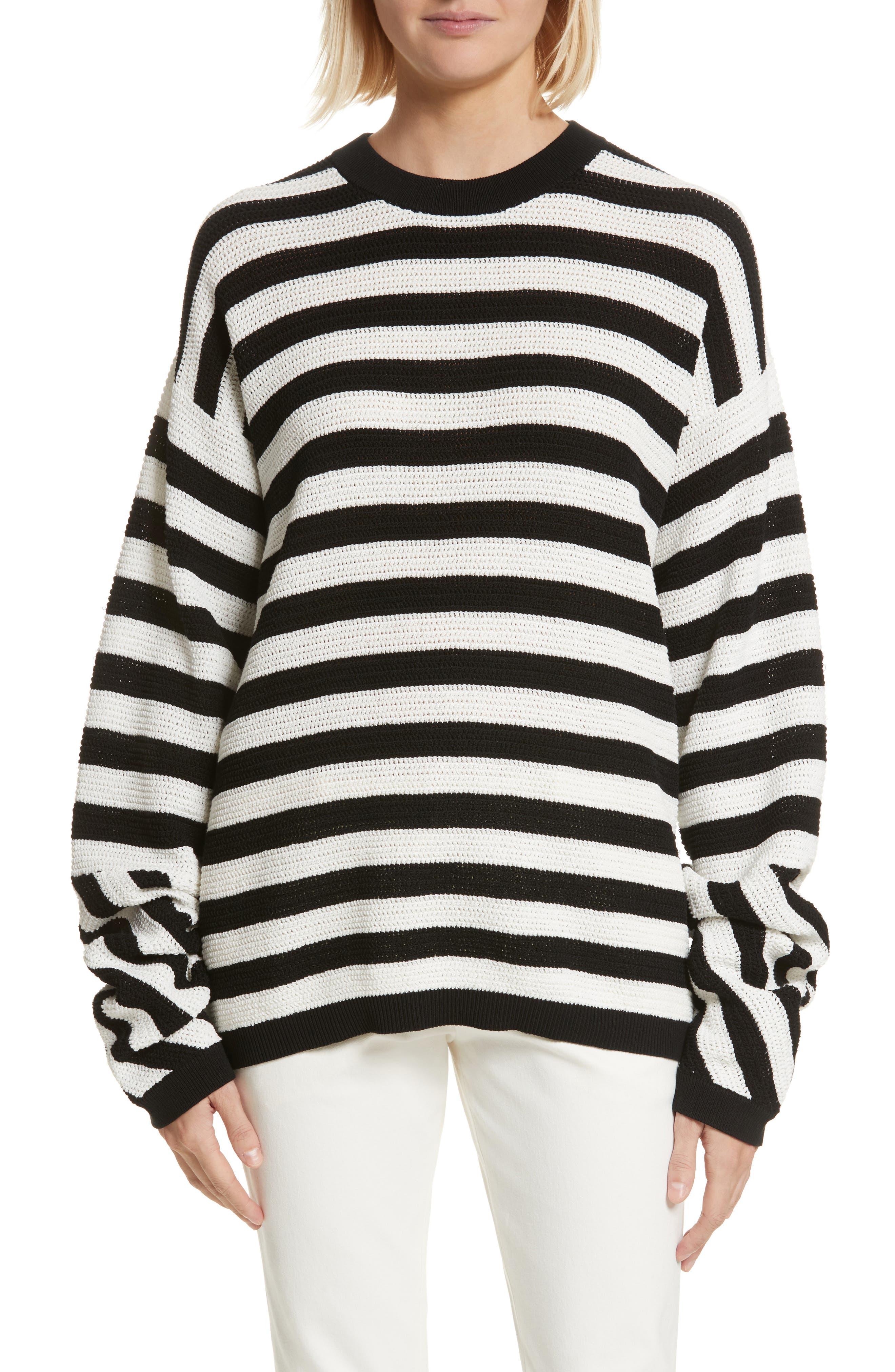 Stripe Cotton Pique Sweater,                             Main thumbnail 1, color,                             Black