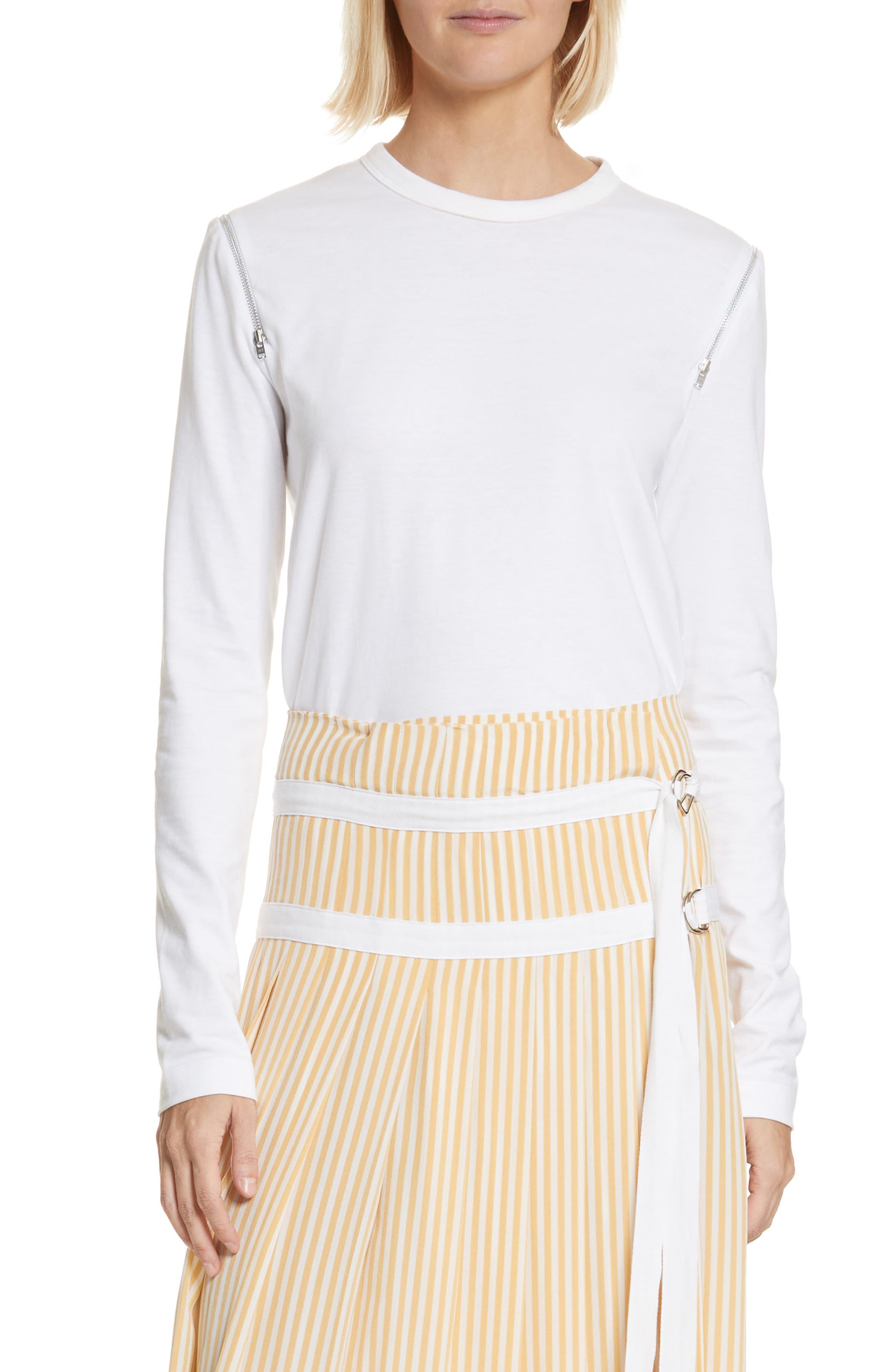 Zip Shoulder Long Sleeve Tee,                         Main,                         color, White