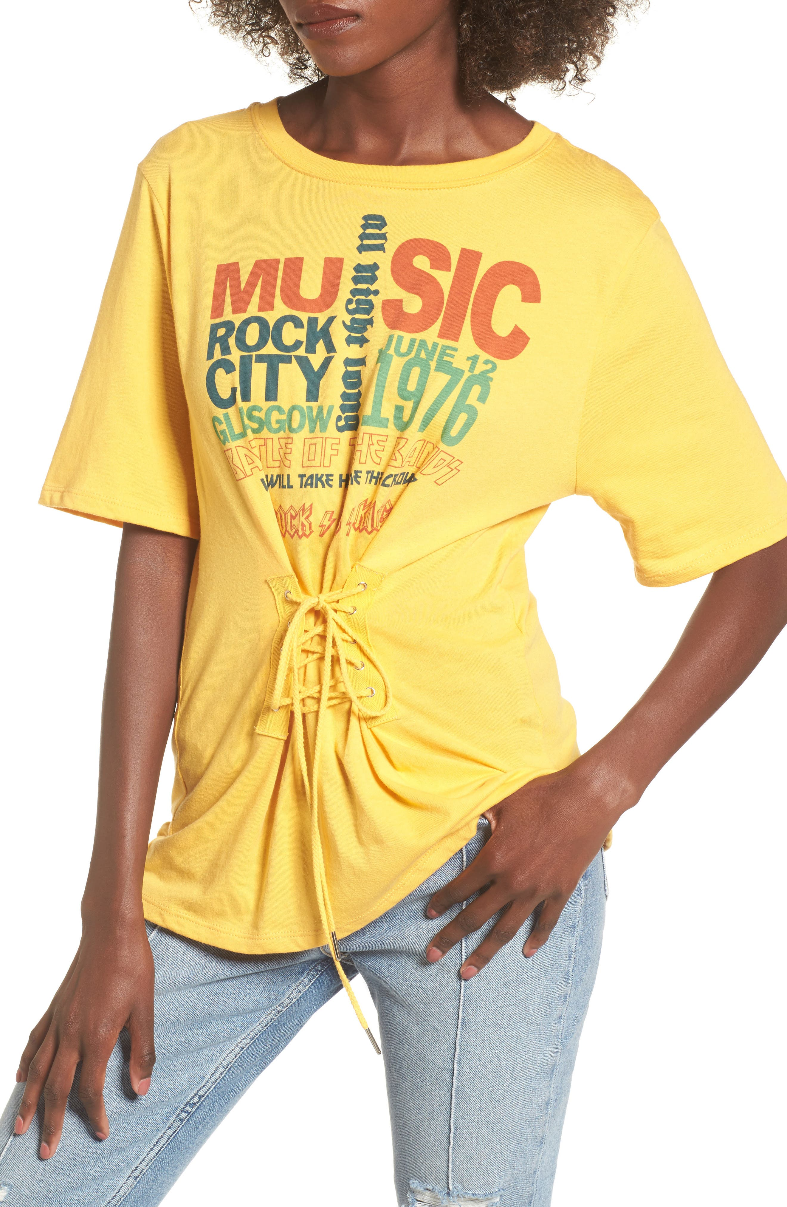 Corset Band Tee,                         Main,                         color, Yellow Spruce