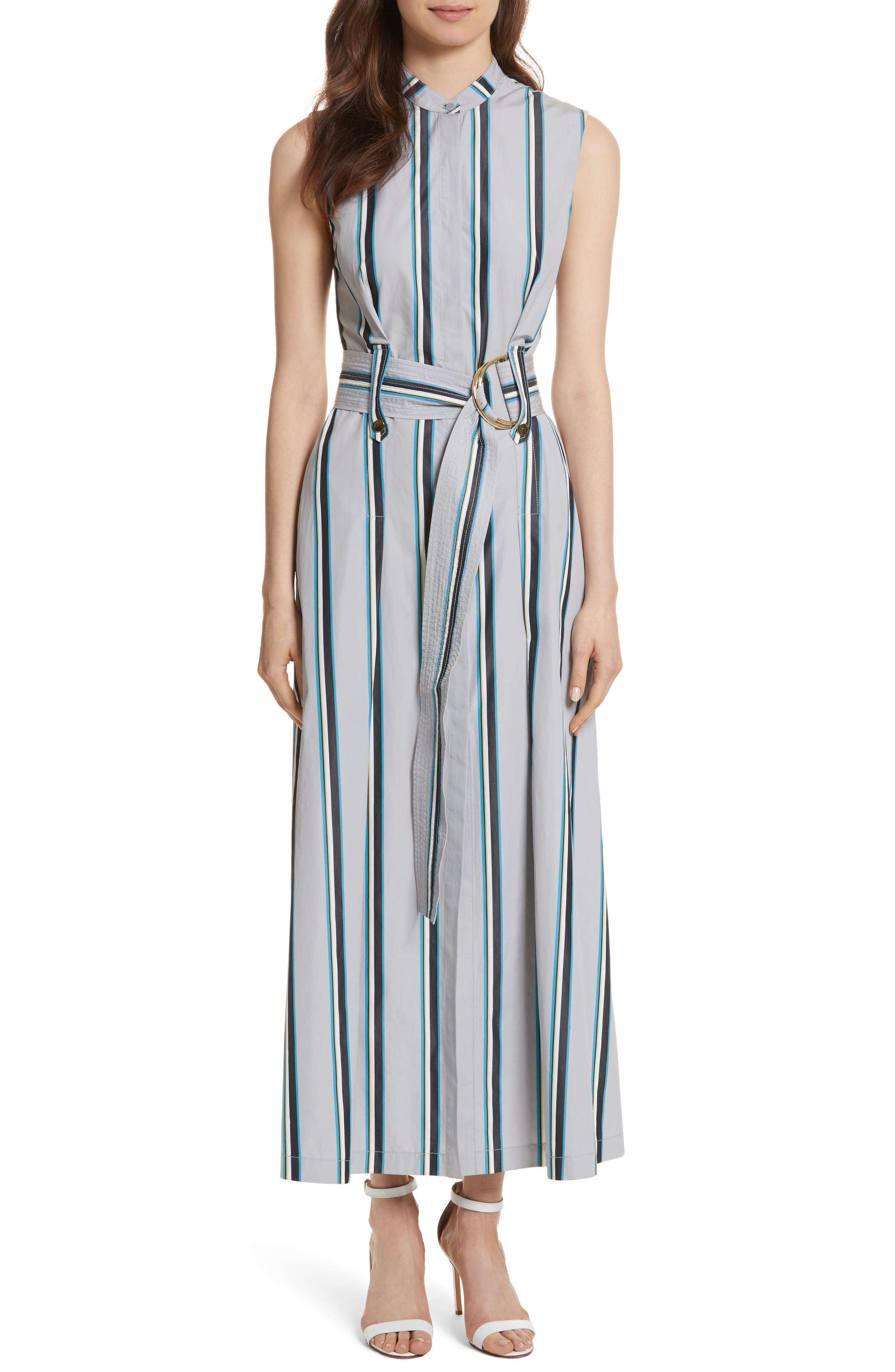 Diane von Furstenberg Stripe Belted Maxi Dress,                             Main thumbnail 1, color,                             Smoke Multi