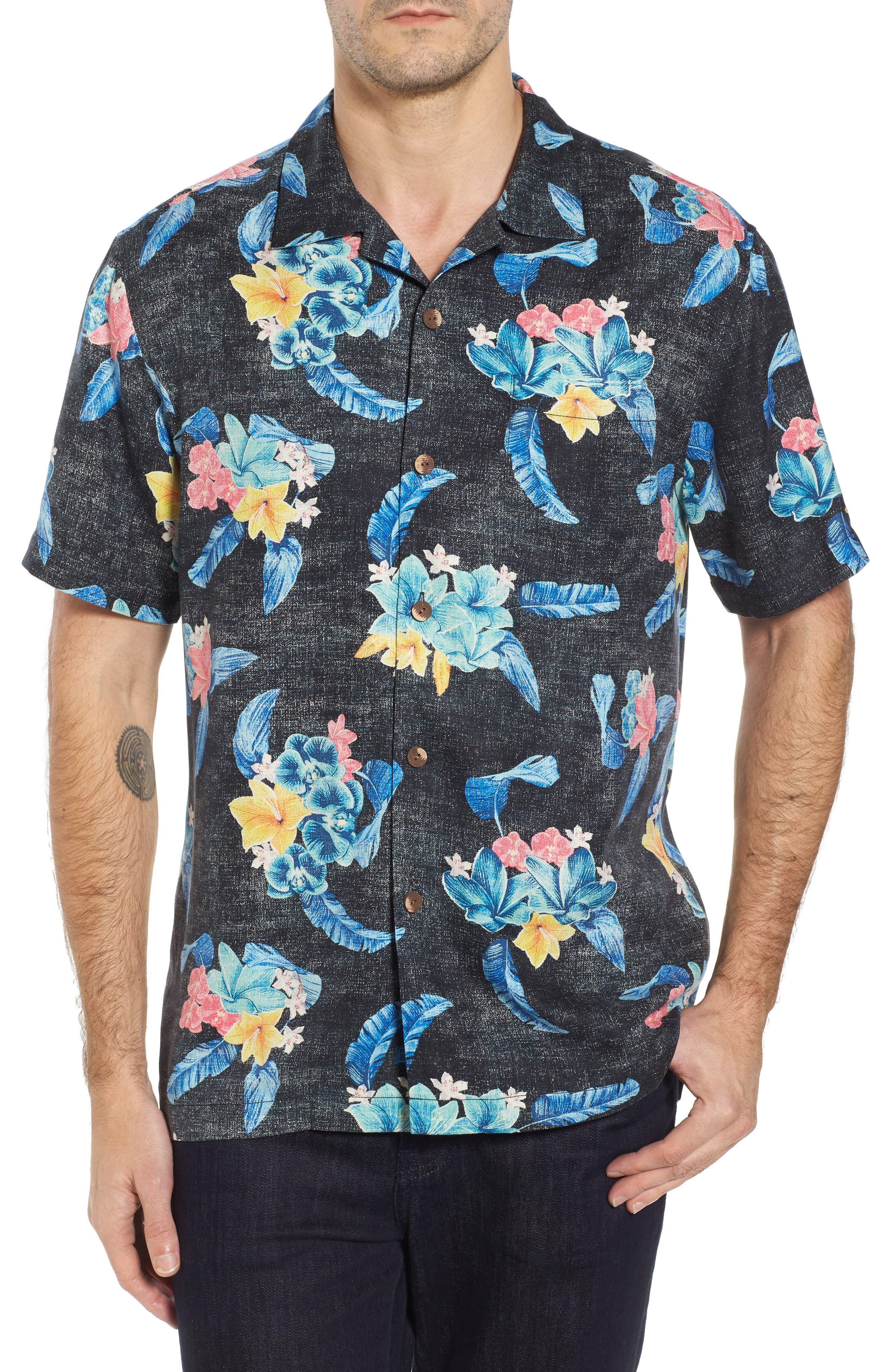 Salt Water Blooms Silk Sport Shirt,                         Main,                         color, Black