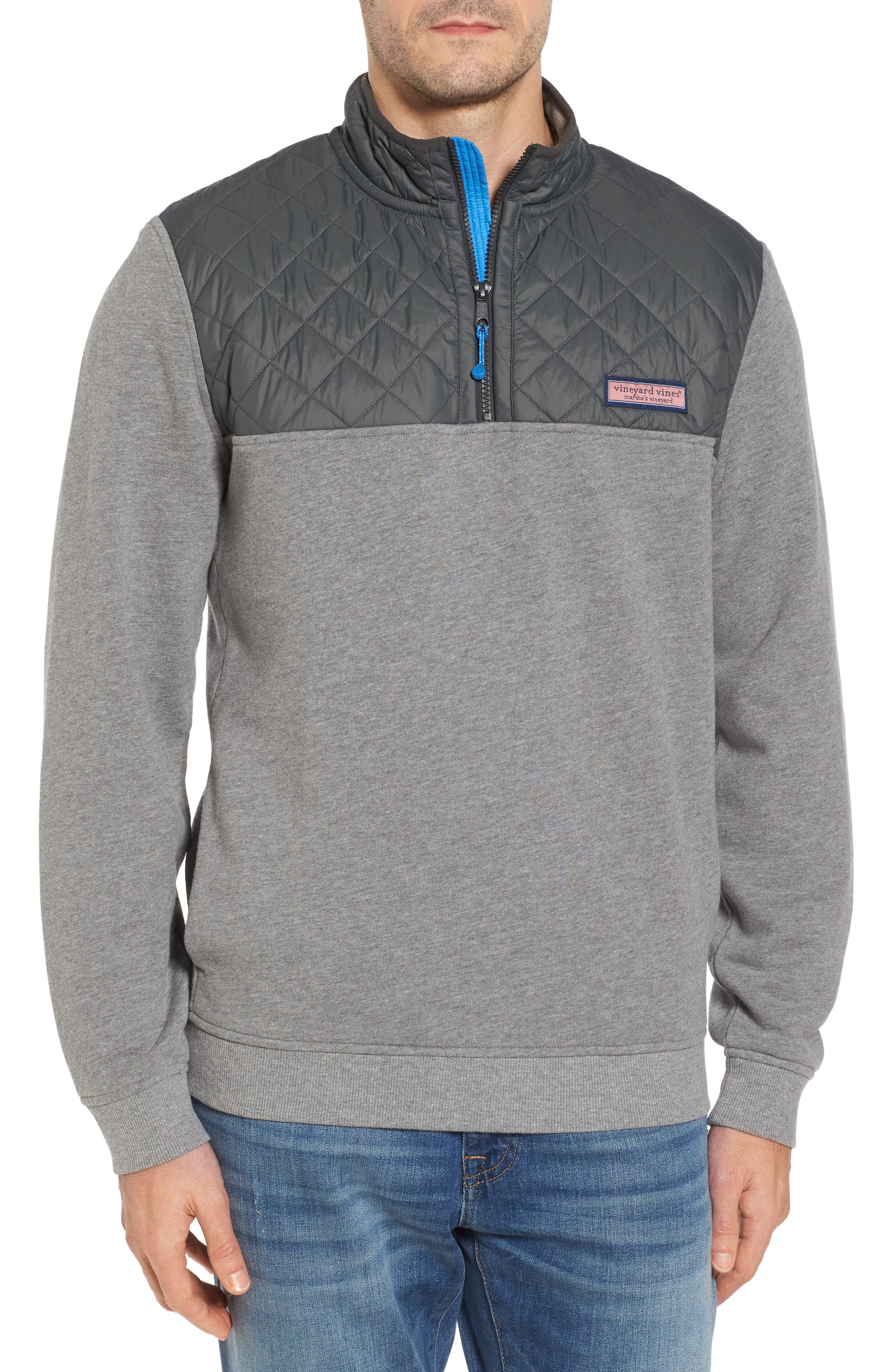 Shep Performance Quilted Yoke Quarter Zip Pullover,                             Main thumbnail 1, color,                             Medium Heather Grey