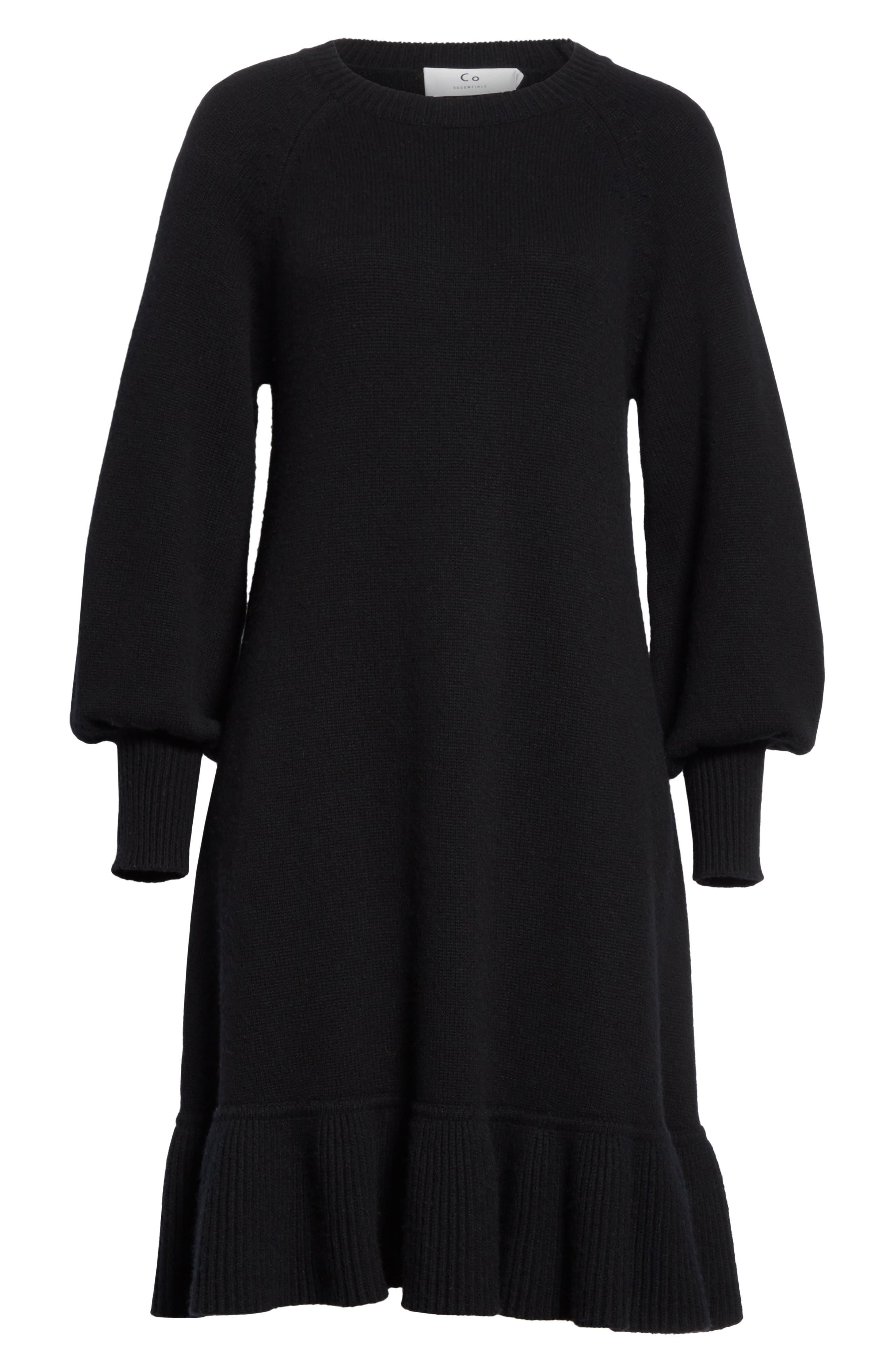 Ruffle Wool & Cashmere Sweater Dress,                             Alternate thumbnail 6, color,                             Black