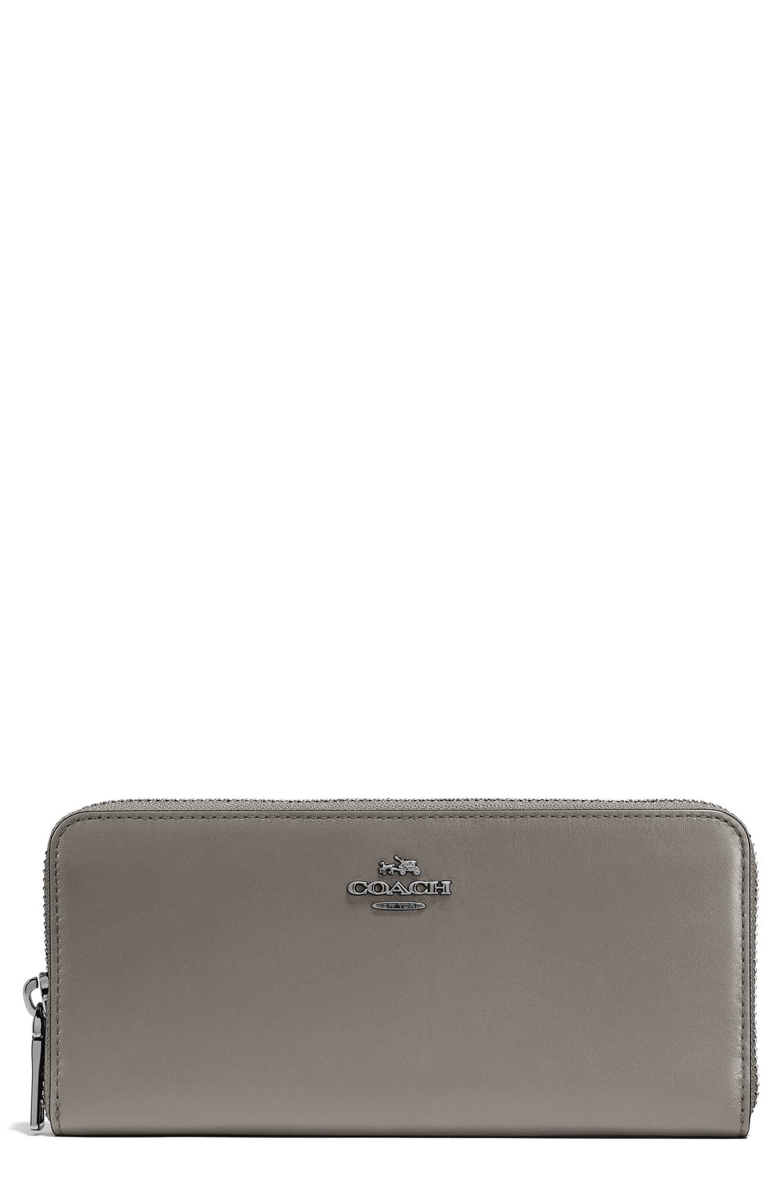 Accordion Zip Around Leather Wallet,                             Main thumbnail 1, color,                             Heather Grey