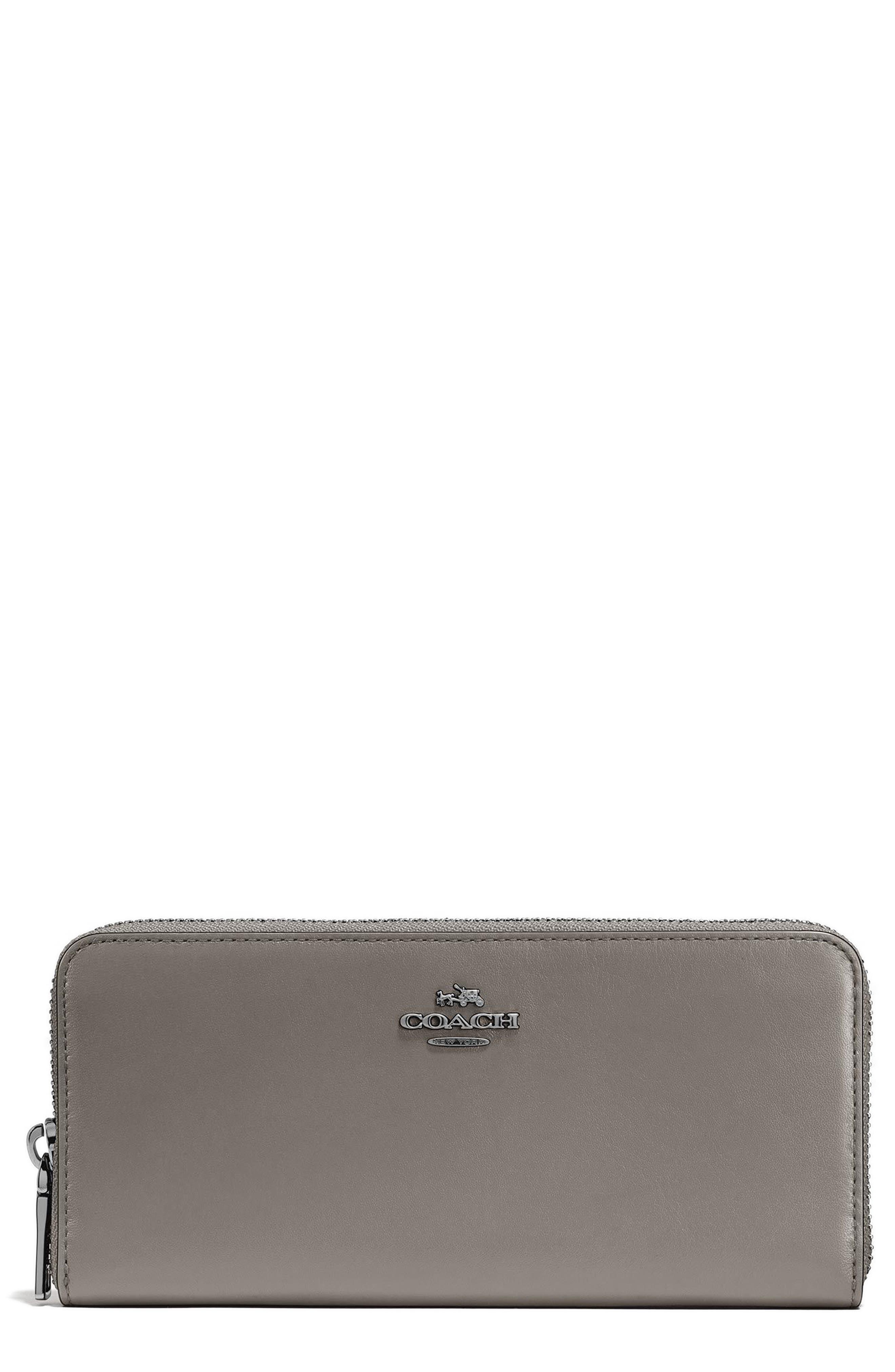 Accordion Zip Around Leather Wallet,                         Main,                         color, Heather Grey
