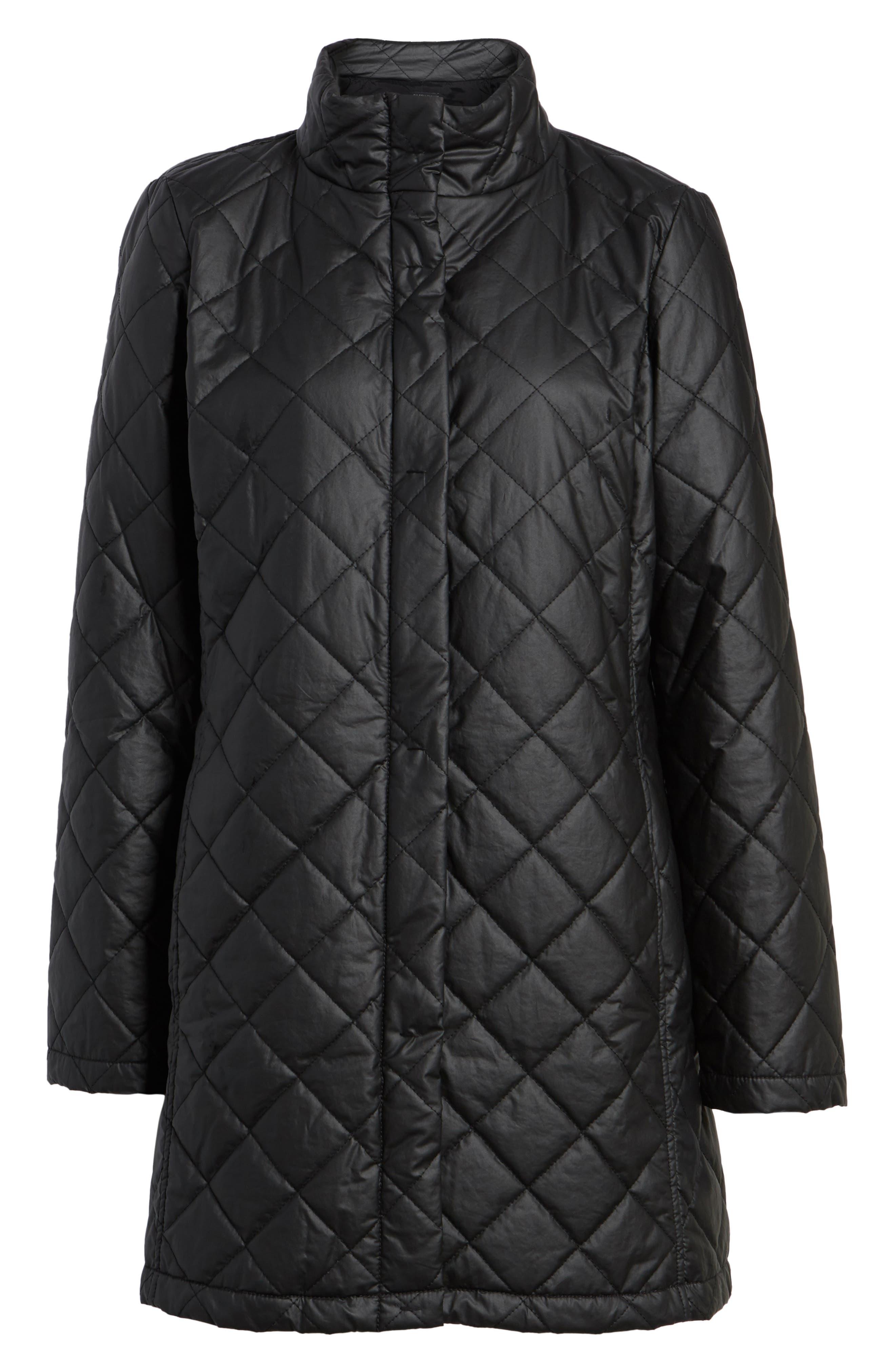 Stand Collar Organic Cotton Jacket,                             Alternate thumbnail 6, color,                             Black