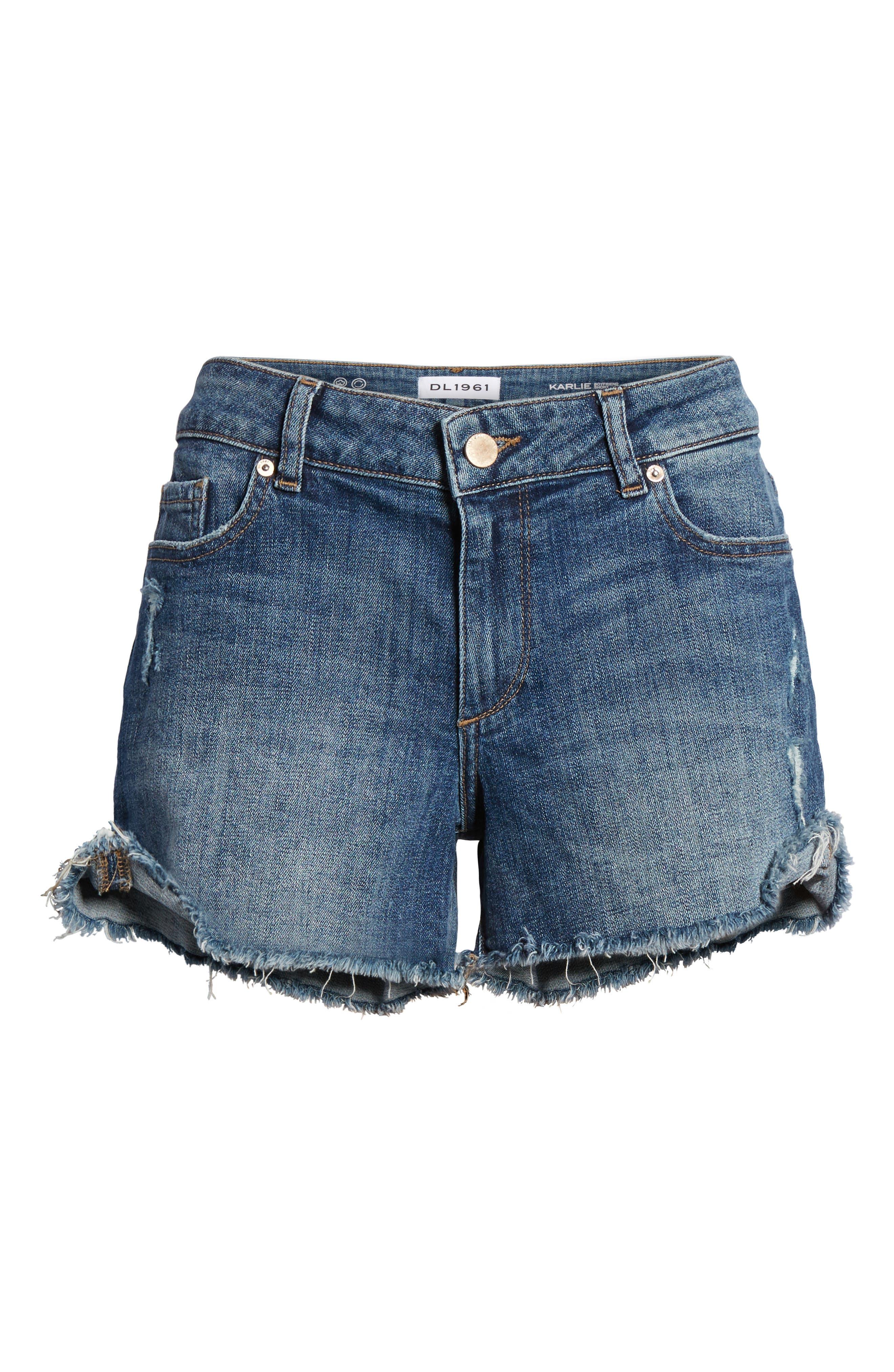 Karlie Cutoff Denim Boyfriend Shorts,                             Alternate thumbnail 6, color,                             Bluegrass