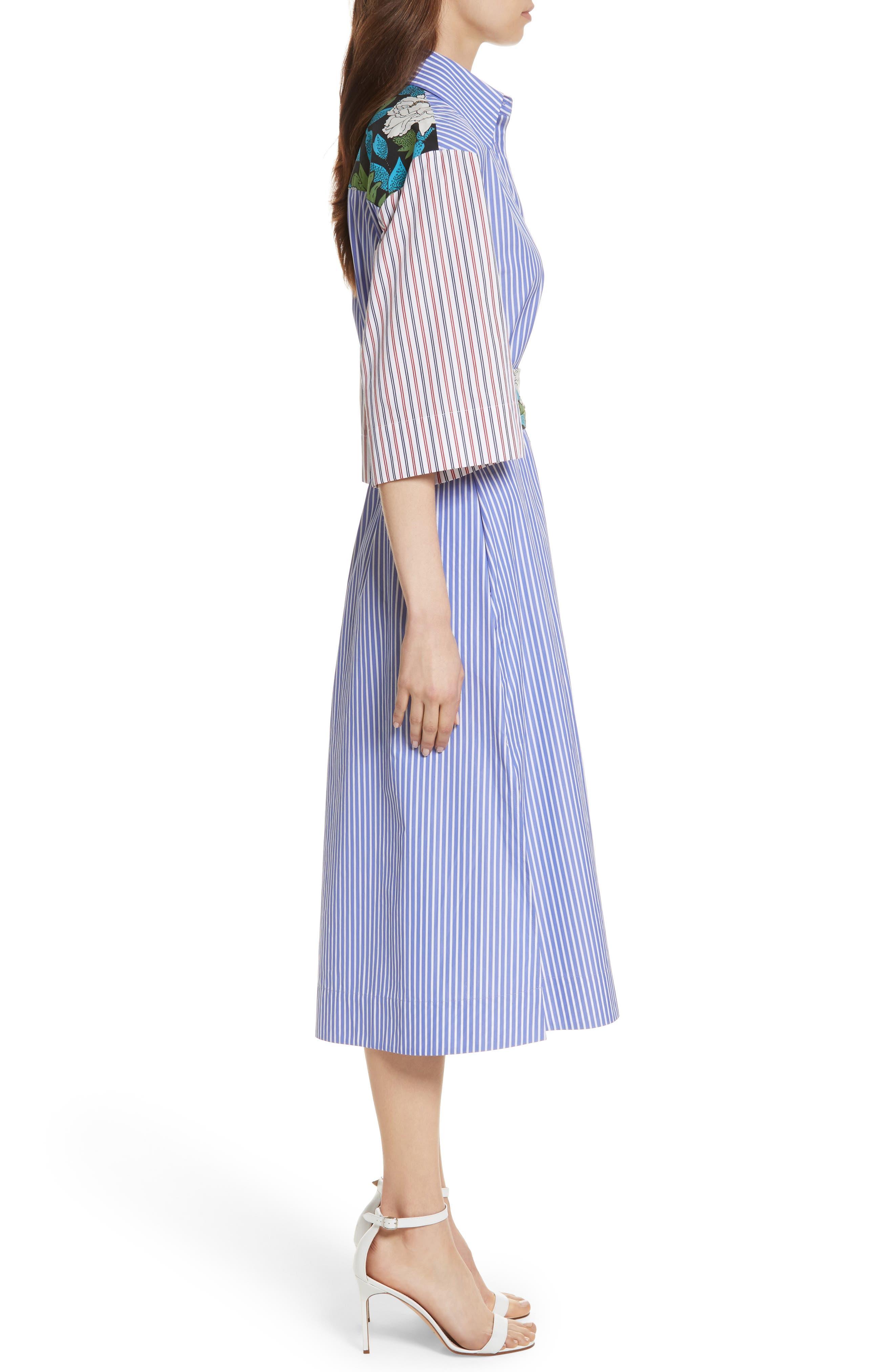 Diane von Furstenberg Mixed Print Cotton Shirtdress,                             Alternate thumbnail 3, color,                             Blue White Wide Stripe