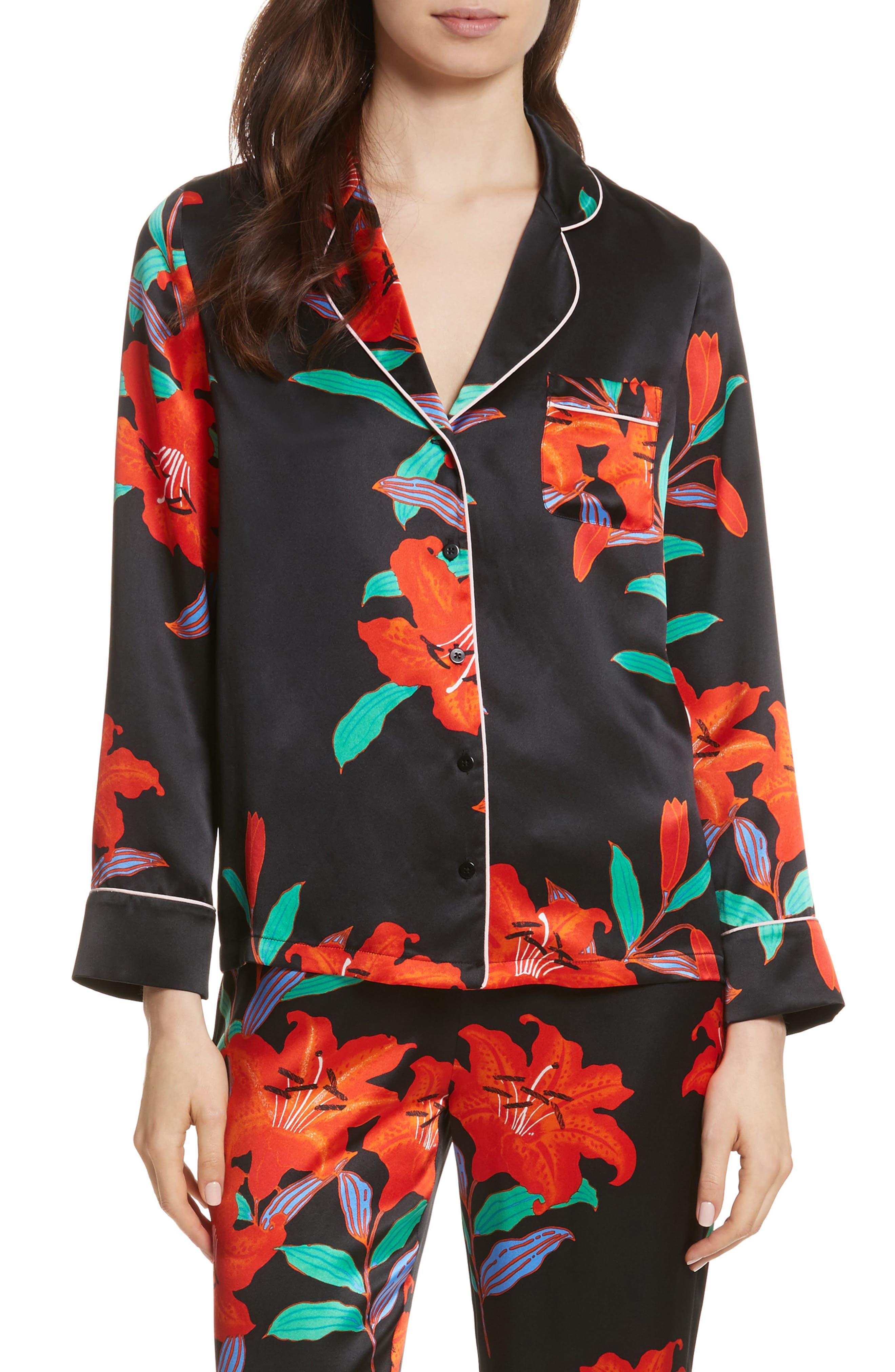 Diane von Furstenberg Pajama Silk Shirt,                         Main,                         color, Argos Black/ Powder Pink