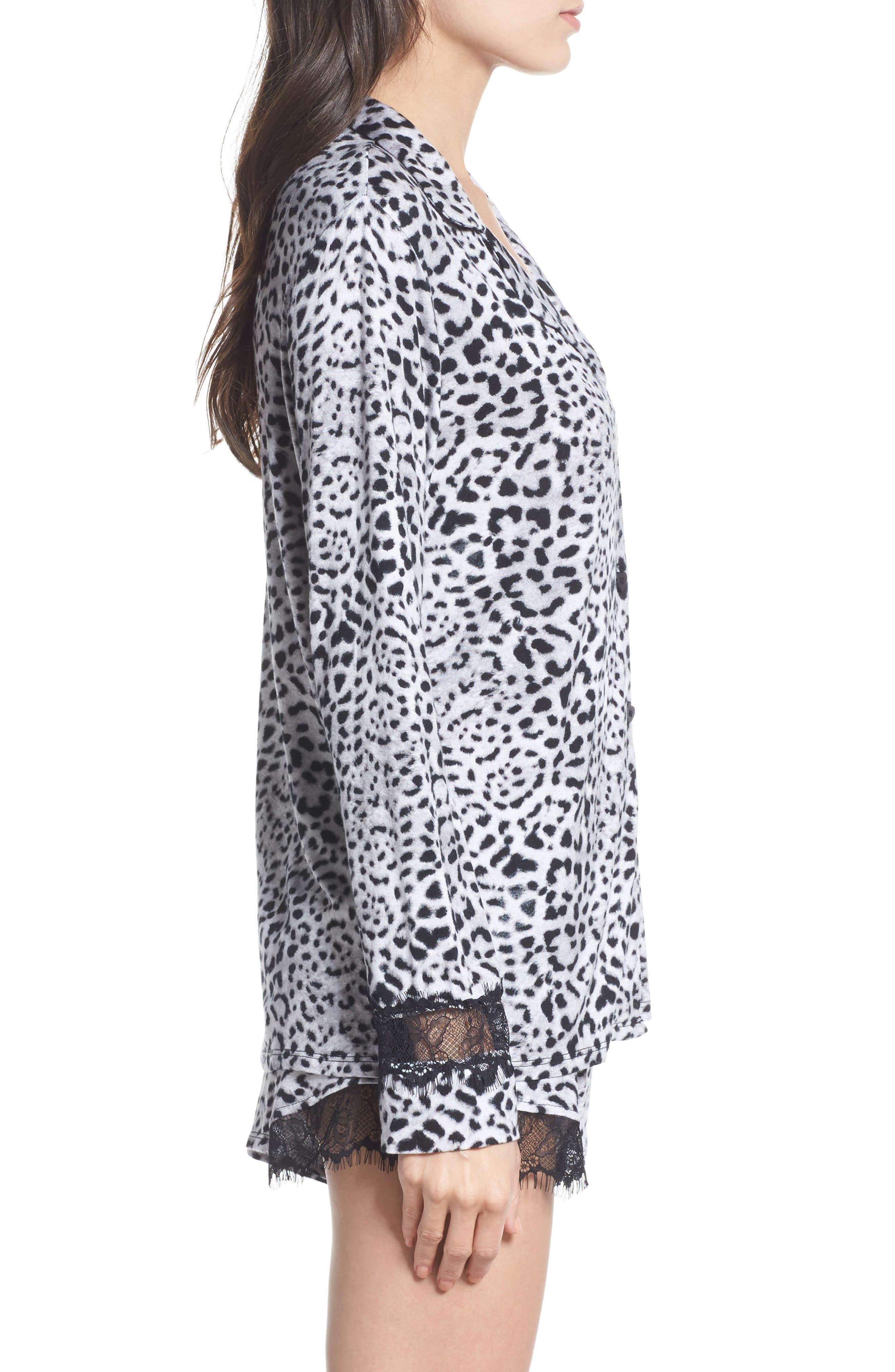 Notch Collar Short Pajamas,                             Alternate thumbnail 3, color,                             Silky Leopard Grey