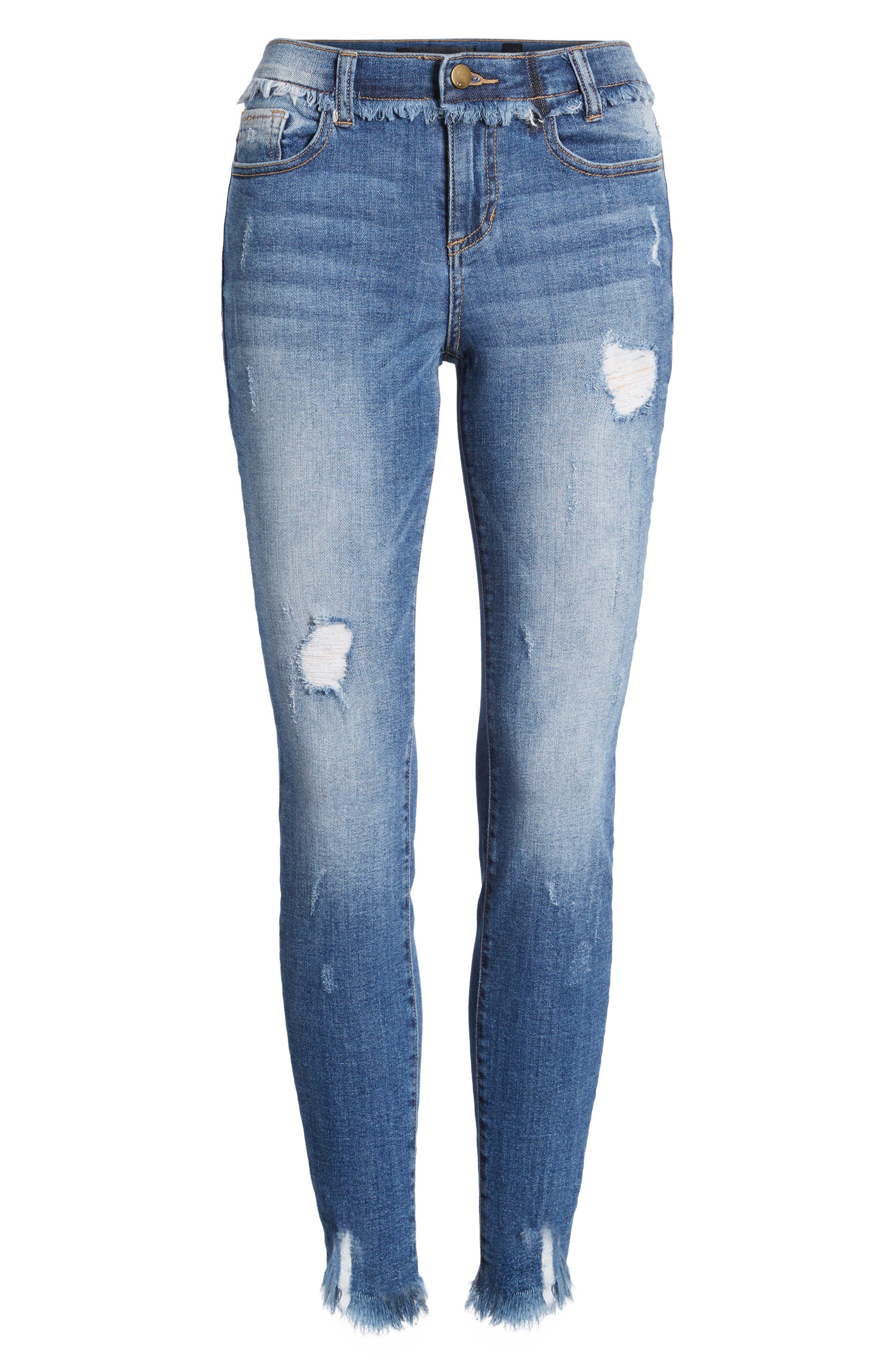 Frayed Waist Skinny Jeans,                             Alternate thumbnail 7, color,                             Medium Light
