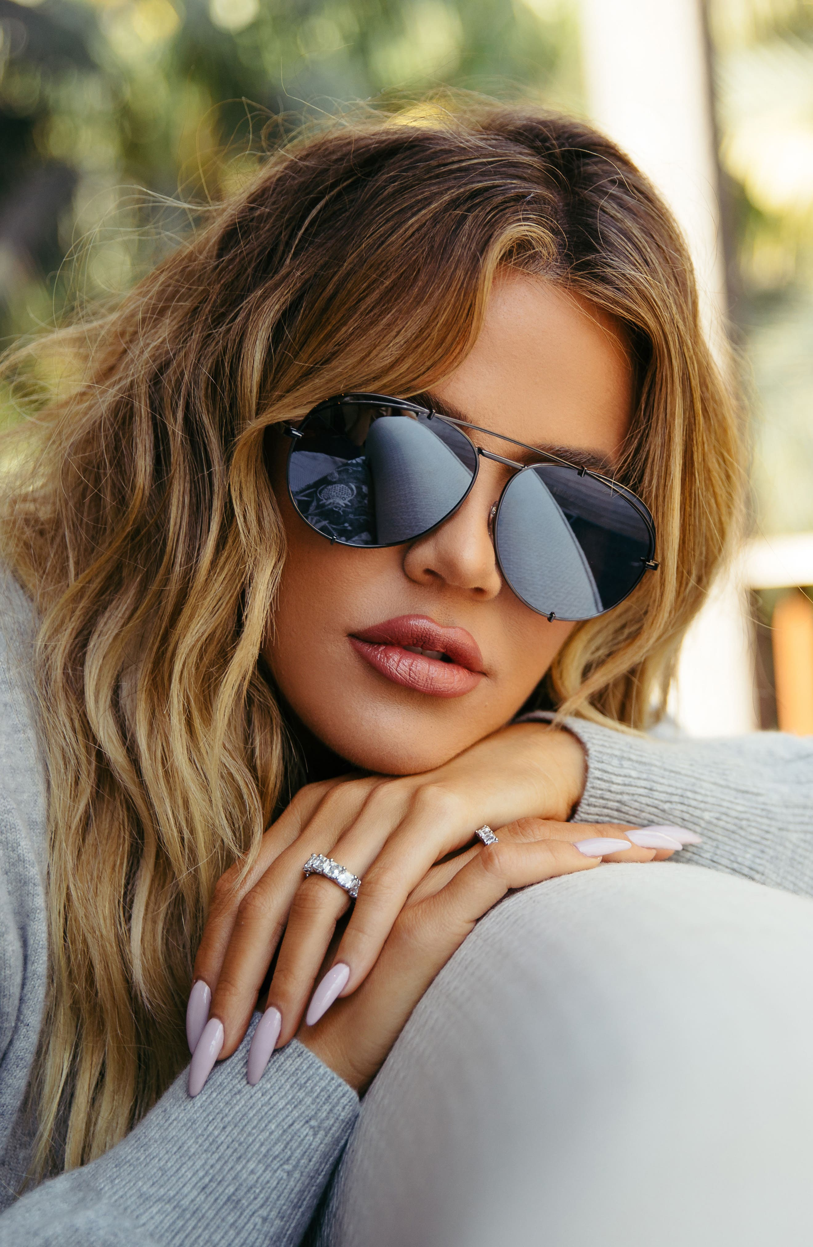 x Khloé Koko 63mm Oversize Aviator Sunglasses,                             Alternate thumbnail 2, color,                             Matte Black/ Grey