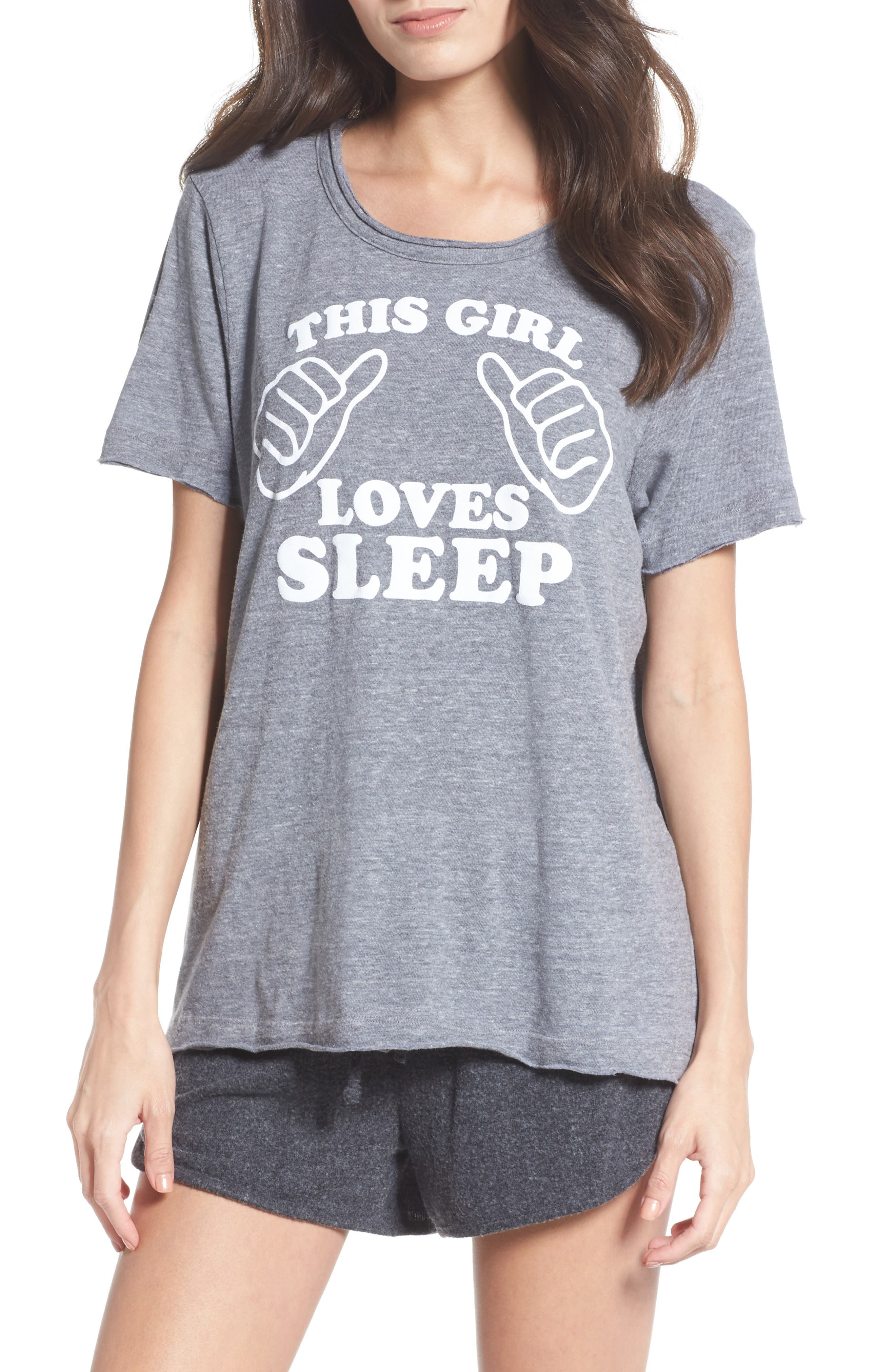 This Girl Loves Sleep Tee,                         Main,                         color, Streaky Grey