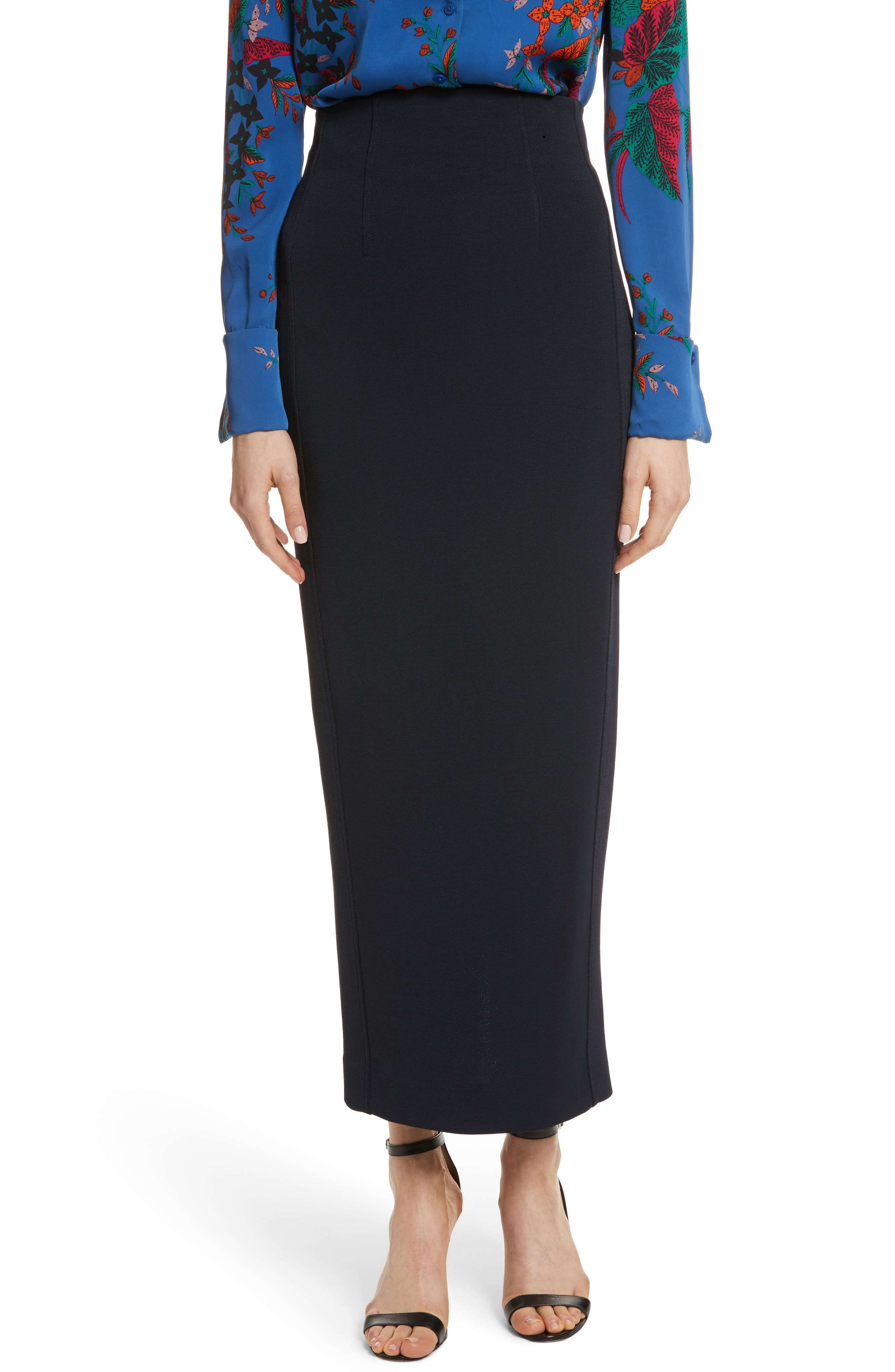 Fitted Midi Skirt,                             Main thumbnail 1, color,                             Alexander Navy