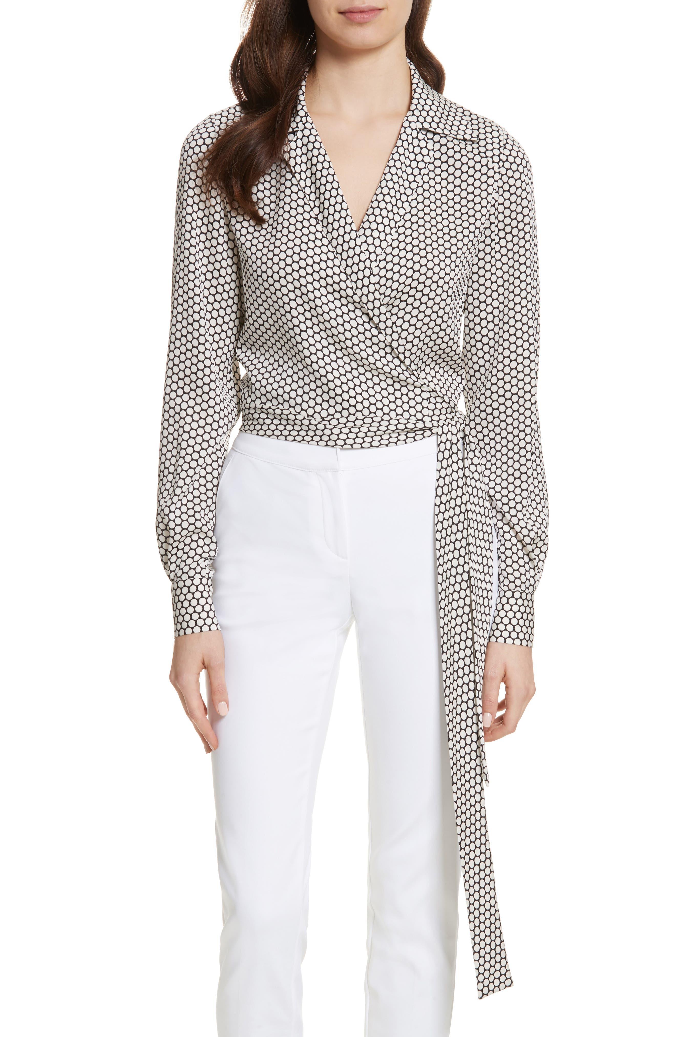 Diane von Furstenberg Stretch Silk Wrap Blouse,                         Main,                         color, Rowe Dot Ivory