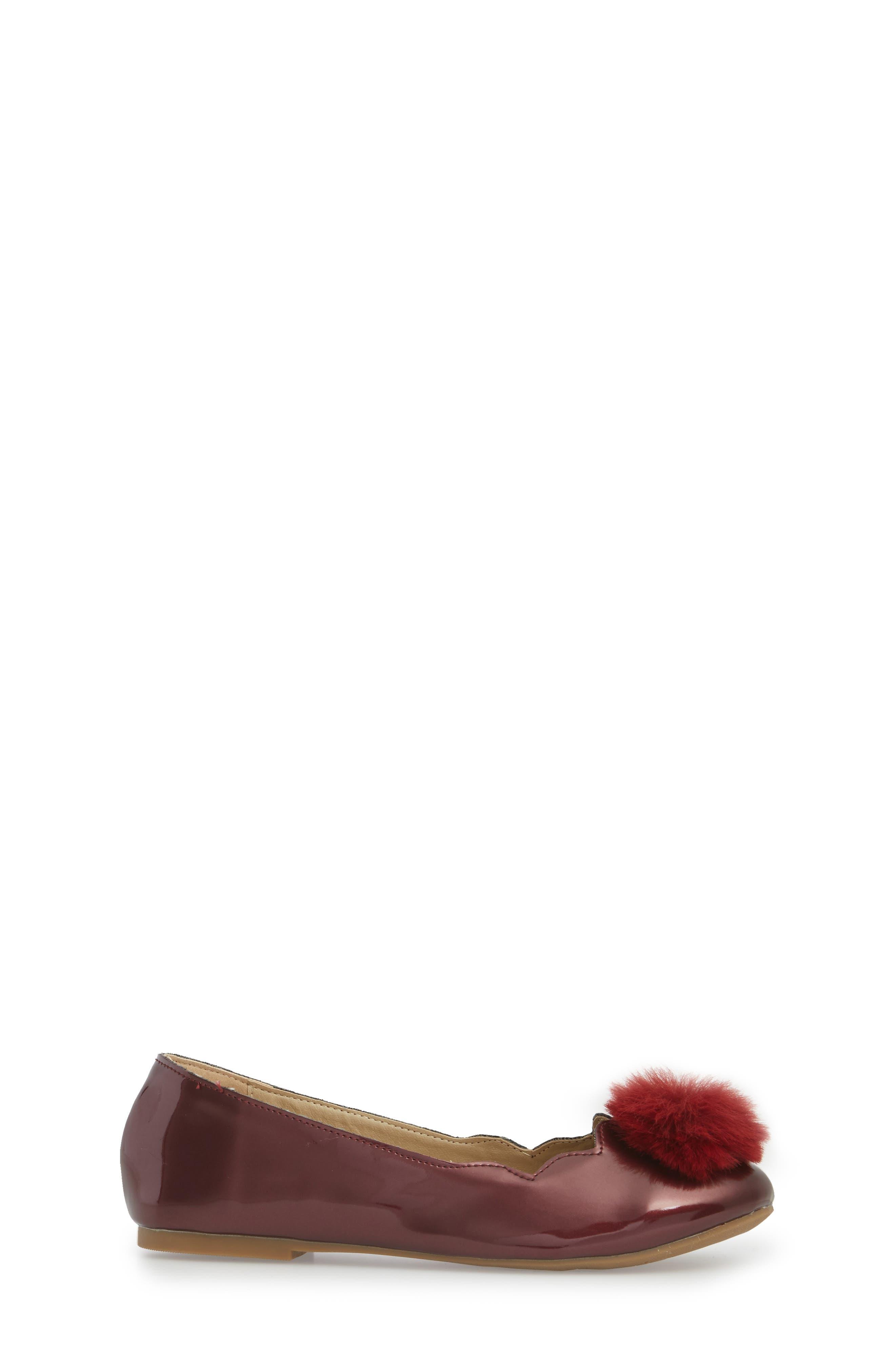 Felicia Anna Faux Fur Pom Flat,                             Alternate thumbnail 3, color,                             Maroon