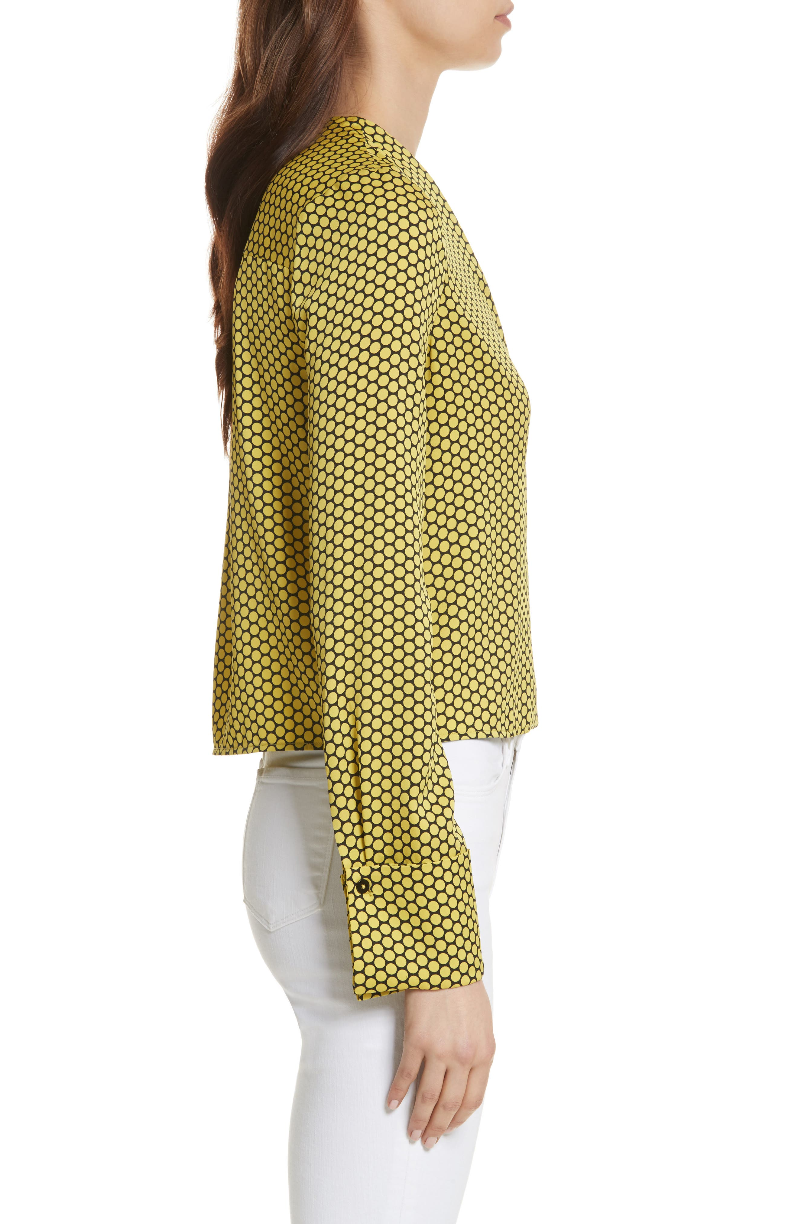 Double Cuff Stretch Silk Blouse,                             Alternate thumbnail 3, color,                             Rowe Dot Citron