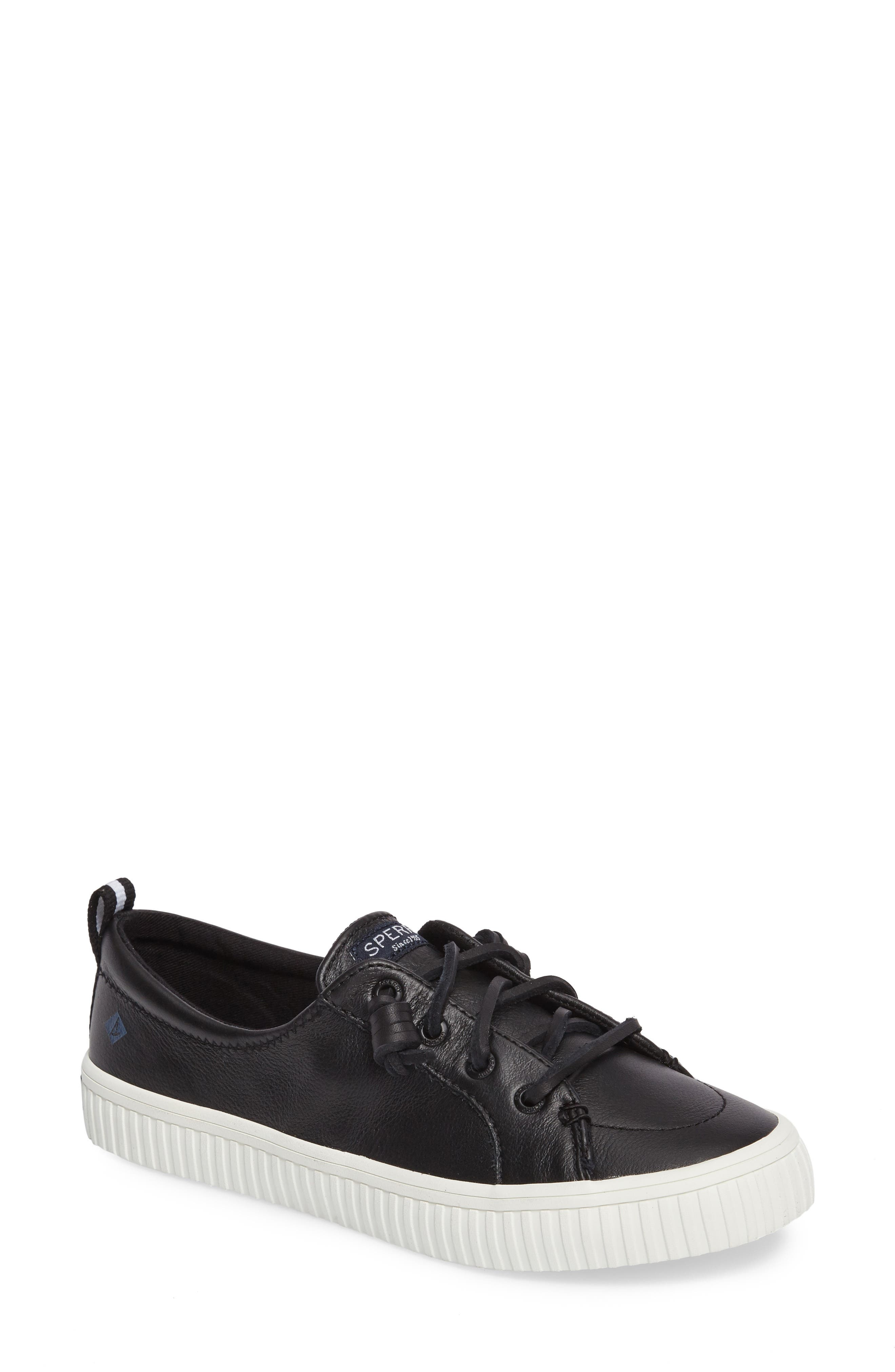Crest Vibe Creeper Sneaker,                             Main thumbnail 1, color,                             Black Leather