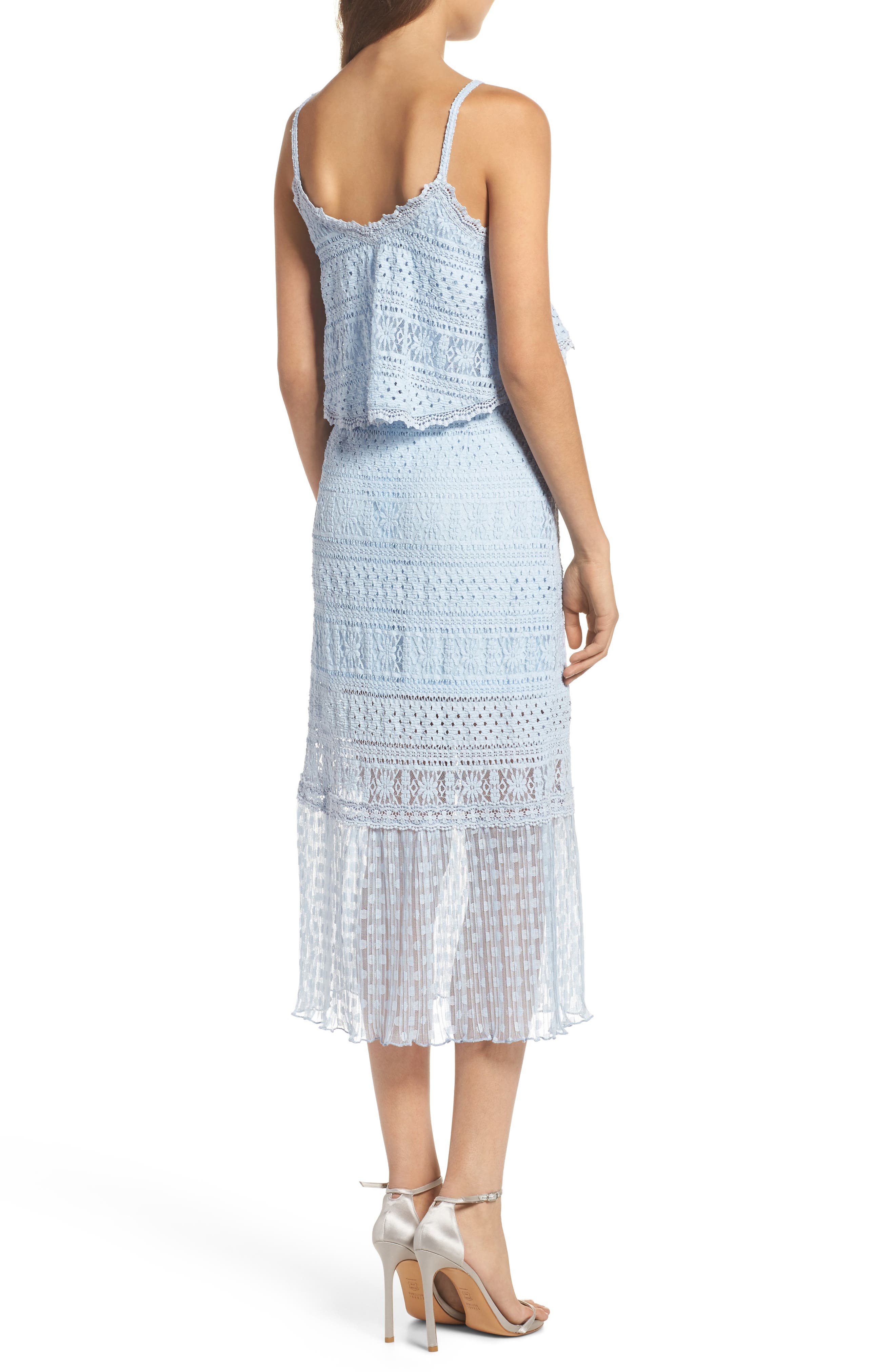 Ellie Lace Popover Midi Dress,                             Alternate thumbnail 2, color,                             Celestial Blue