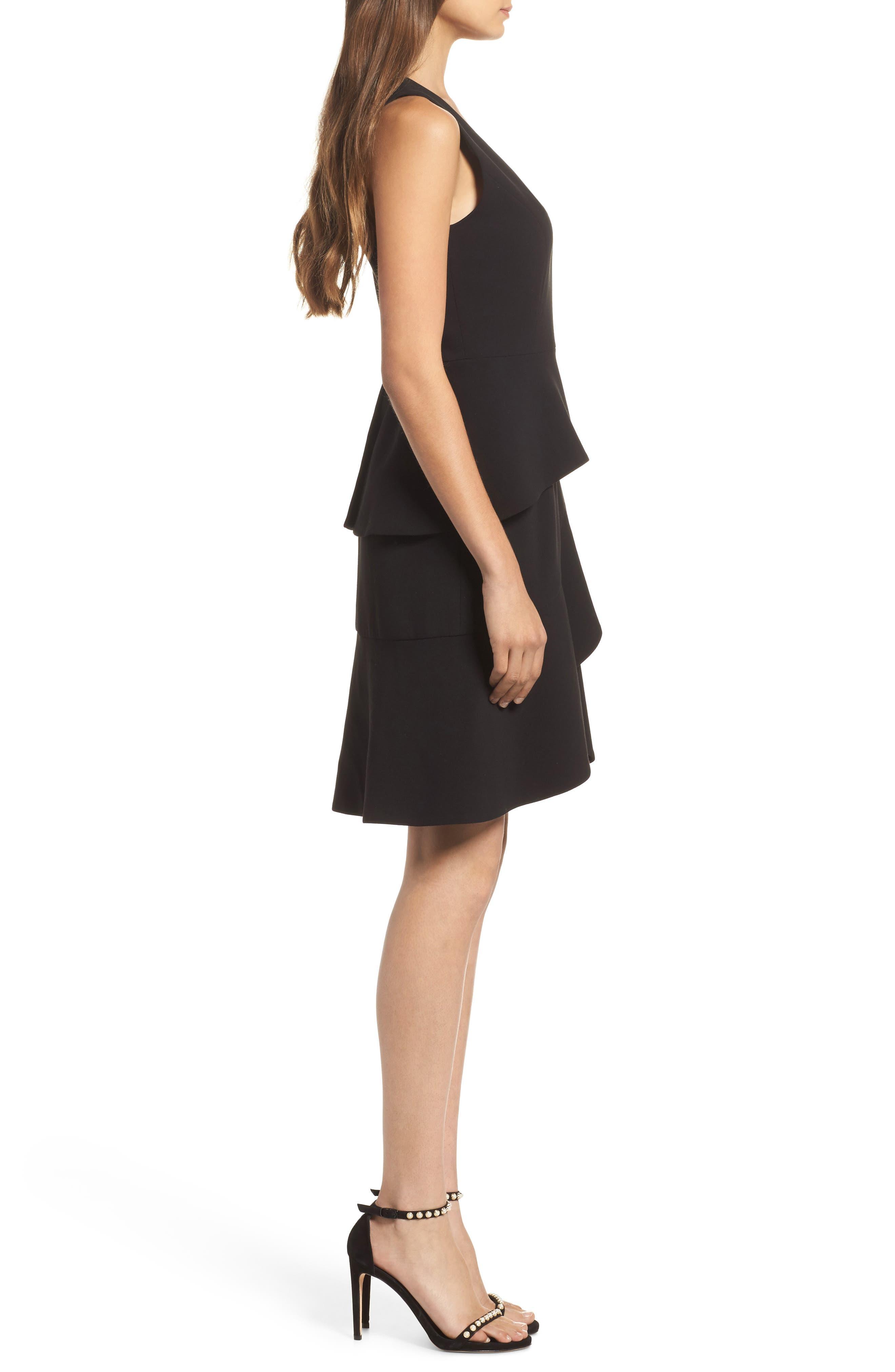 Tulip Ruffle Dress,                             Alternate thumbnail 3, color,                             Black