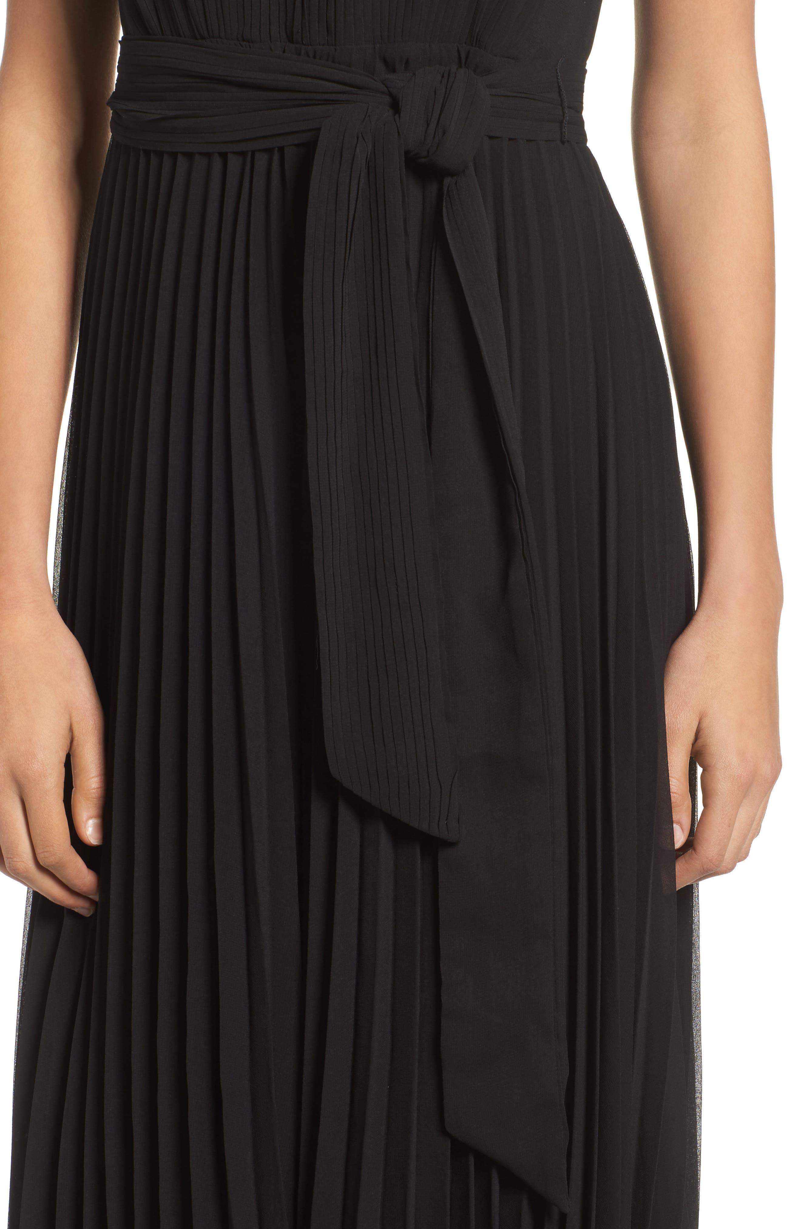 Gardenia Pleat Gown,                             Alternate thumbnail 4, color,                             Black