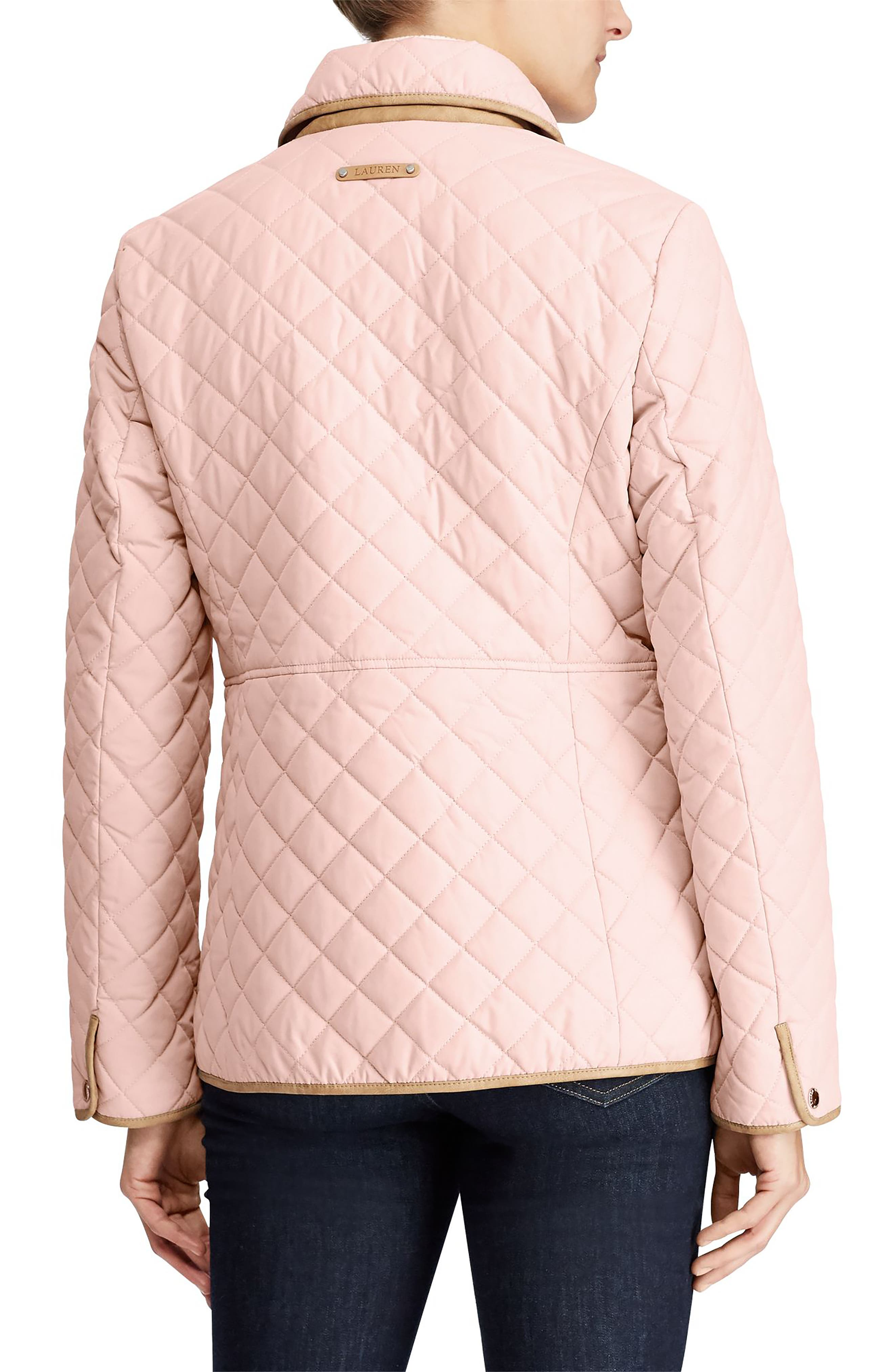 Faux Leather Trim Quilted Jacket,                             Alternate thumbnail 2, color,                             English Blush