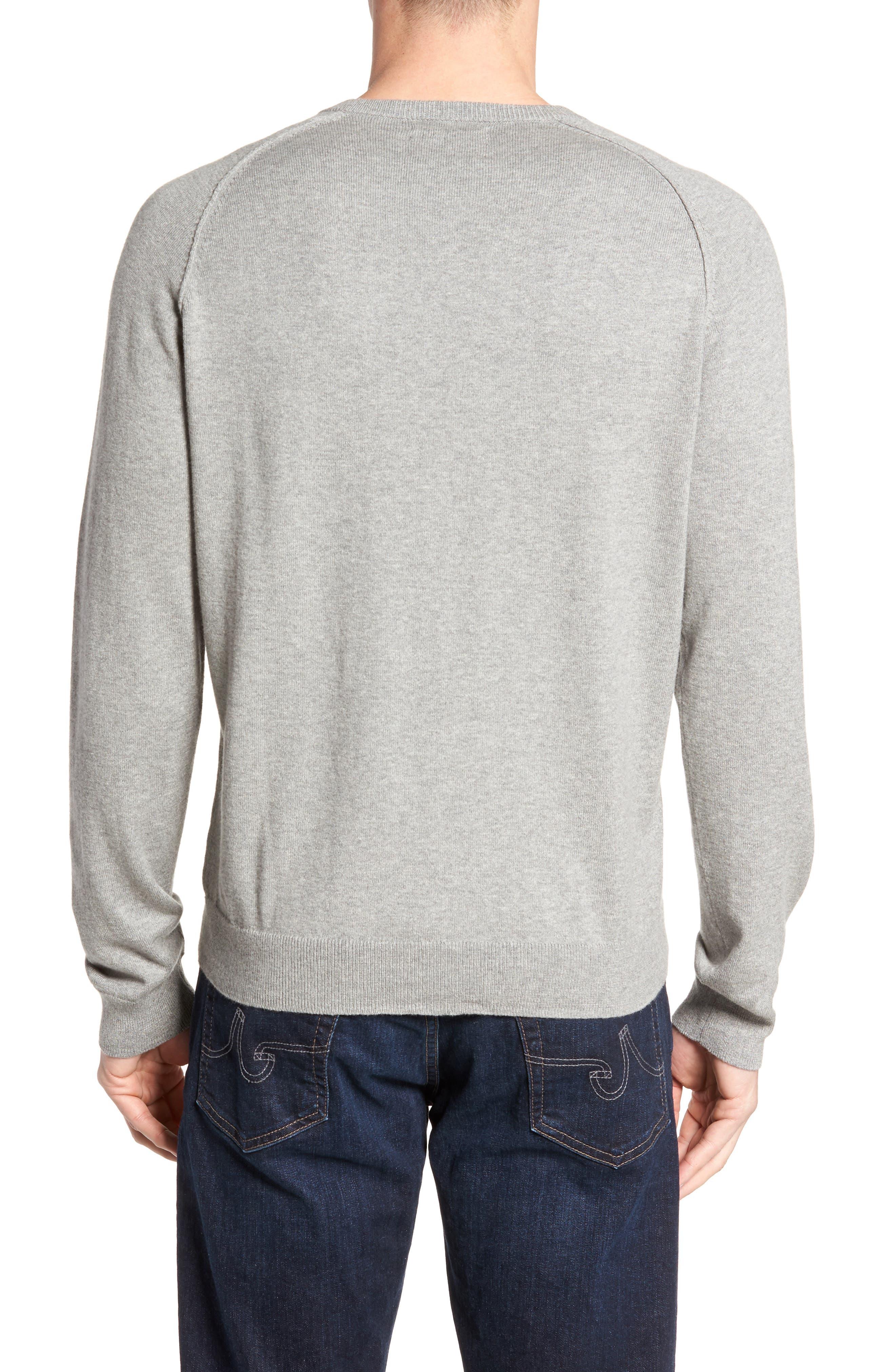 Saddle Shoulder Cotton & Cashmere Sweater,                             Alternate thumbnail 2, color,                             Grey Heather