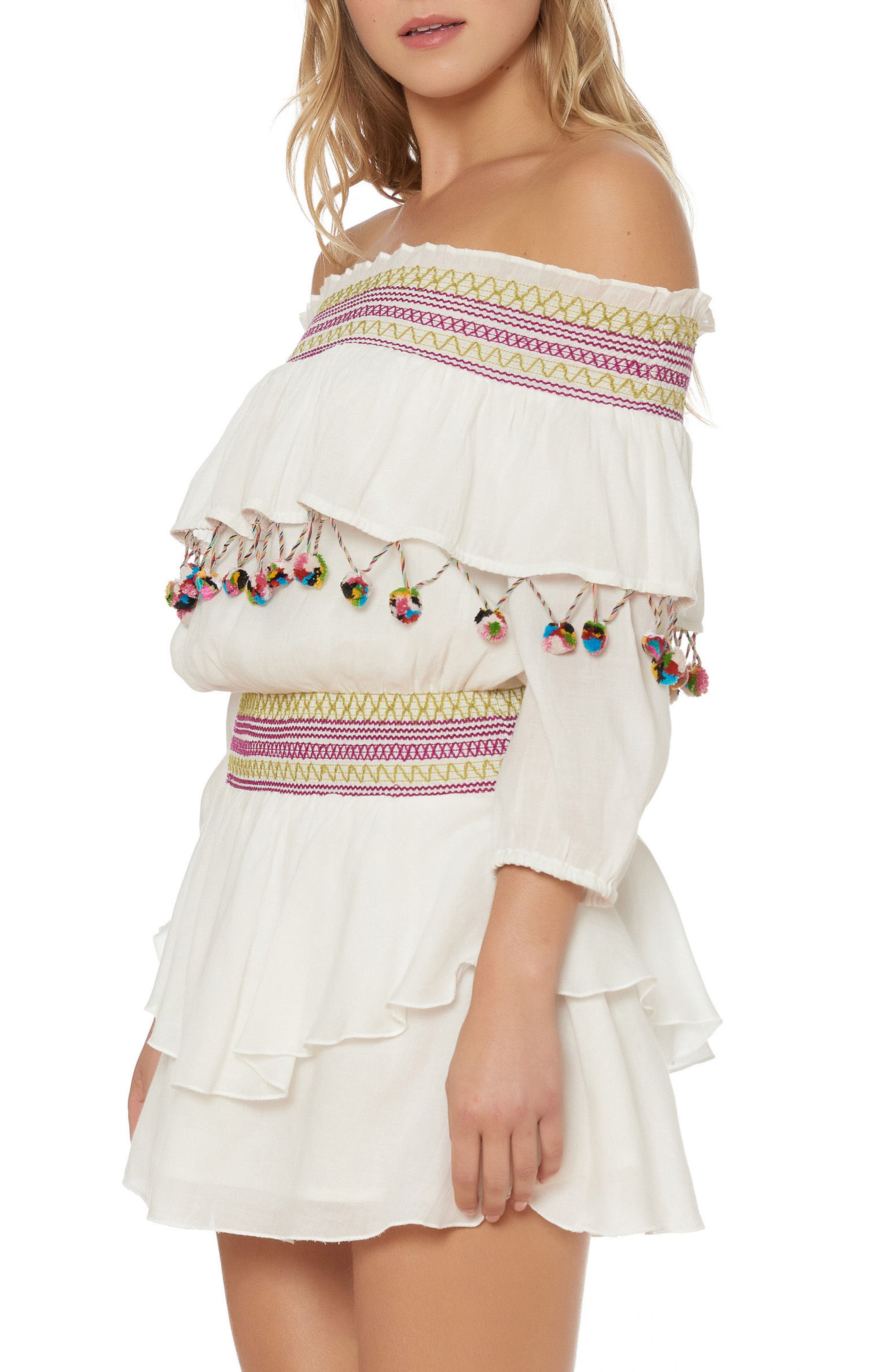 Mira Smocked Off the Shoulder Cover-Up Dress,                             Alternate thumbnail 3, color,                             Ivory