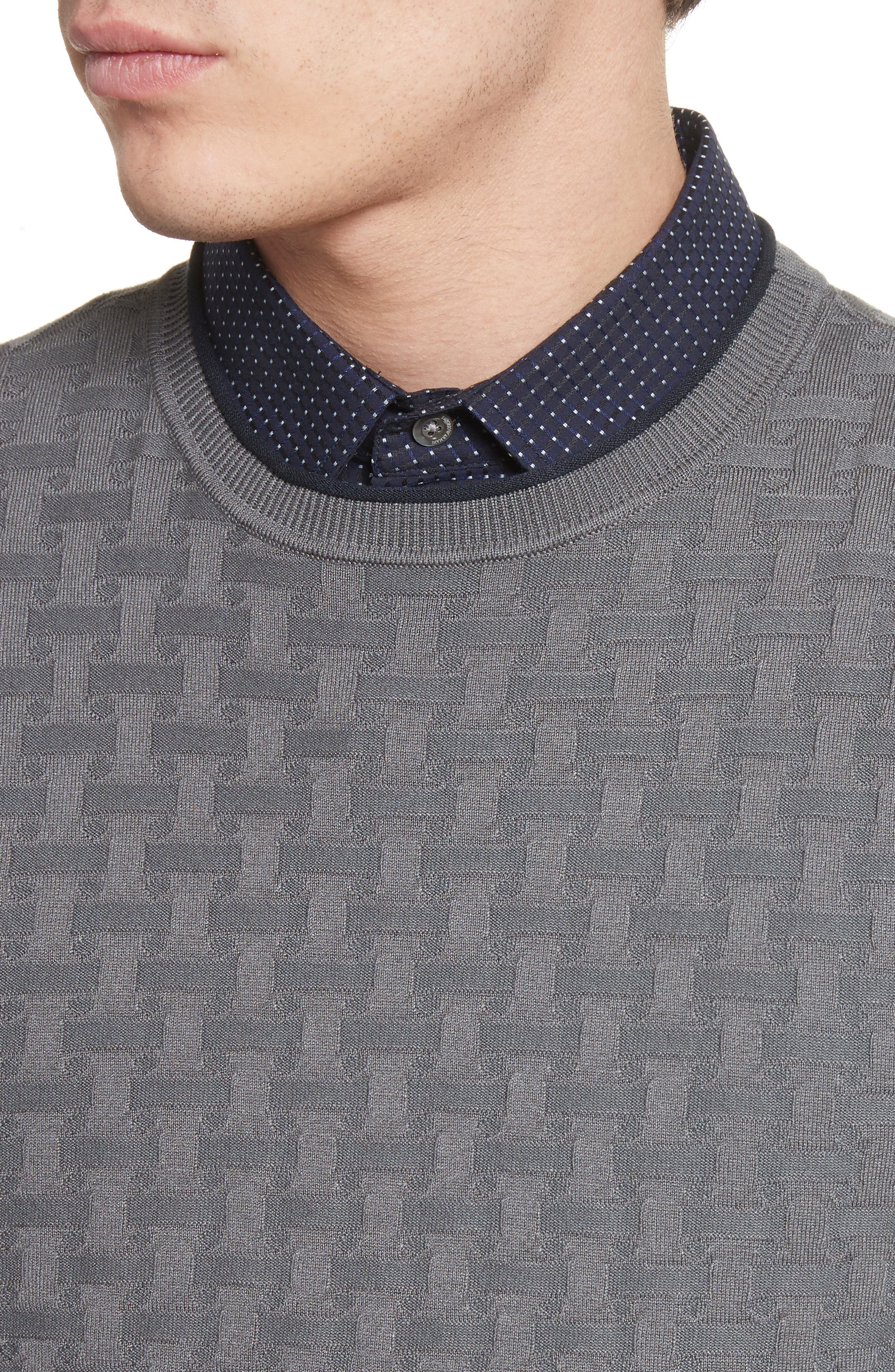 Slim Fit Woven Links Sweater,                             Alternate thumbnail 4, color,                             Pietra