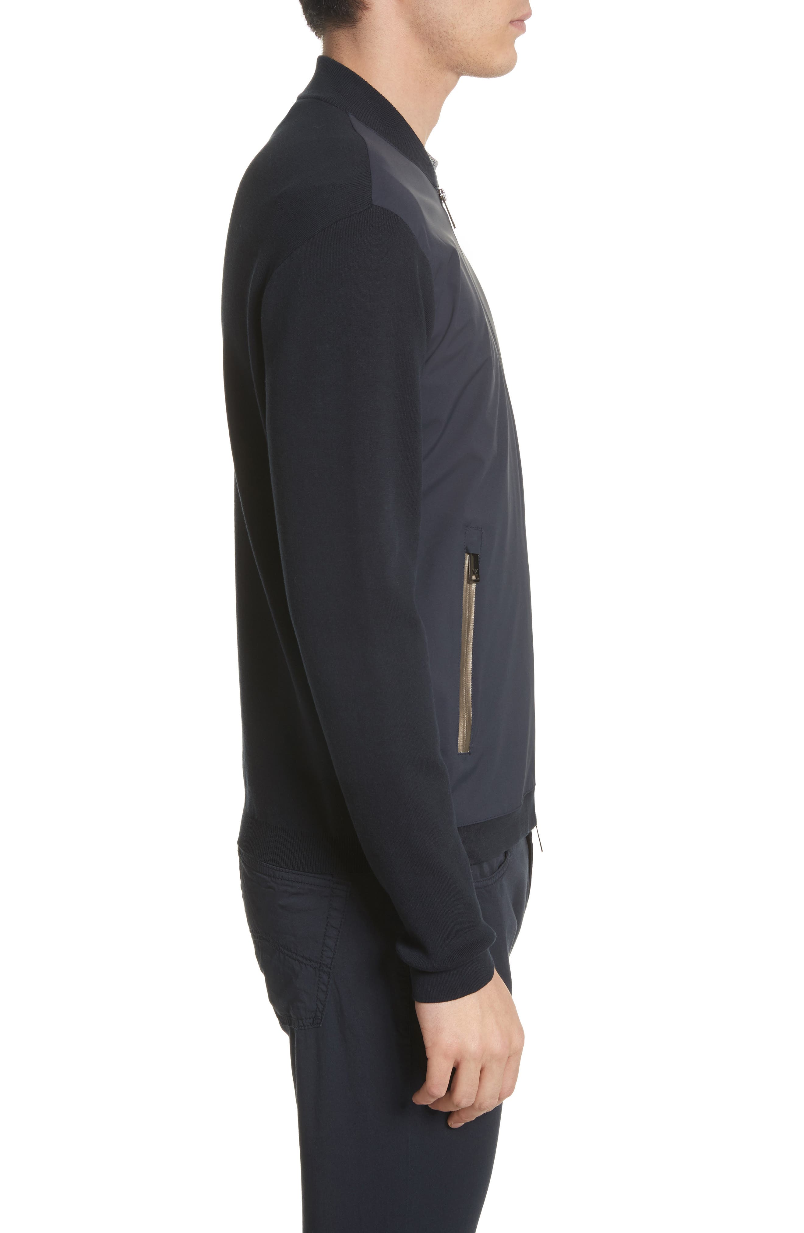Regular Fit Mixed Media Bomber Jacket,                             Alternate thumbnail 3, color,                             Blue Navy