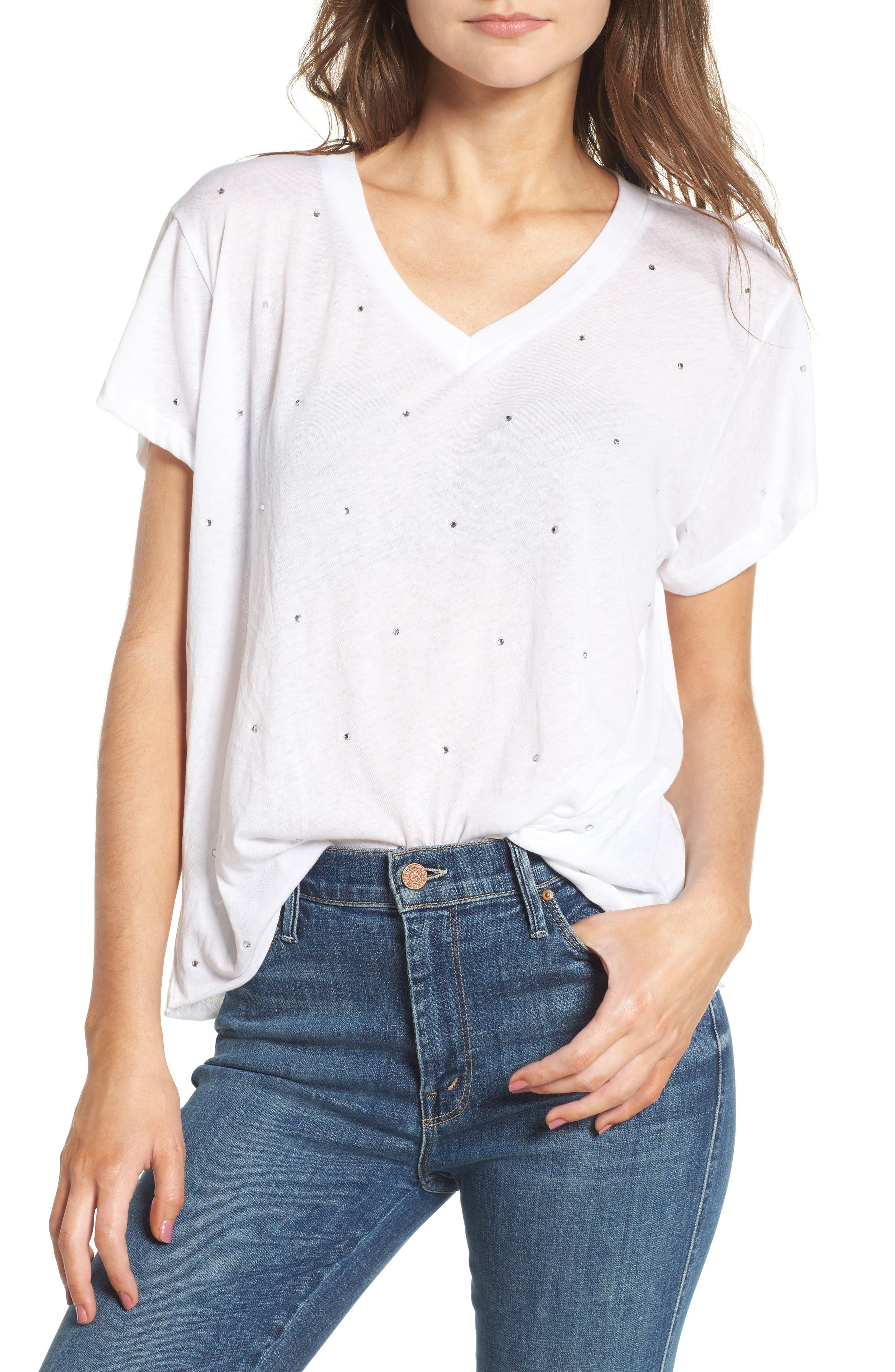 Glitz Embellished Tee,                         Main,                         color, Clean White