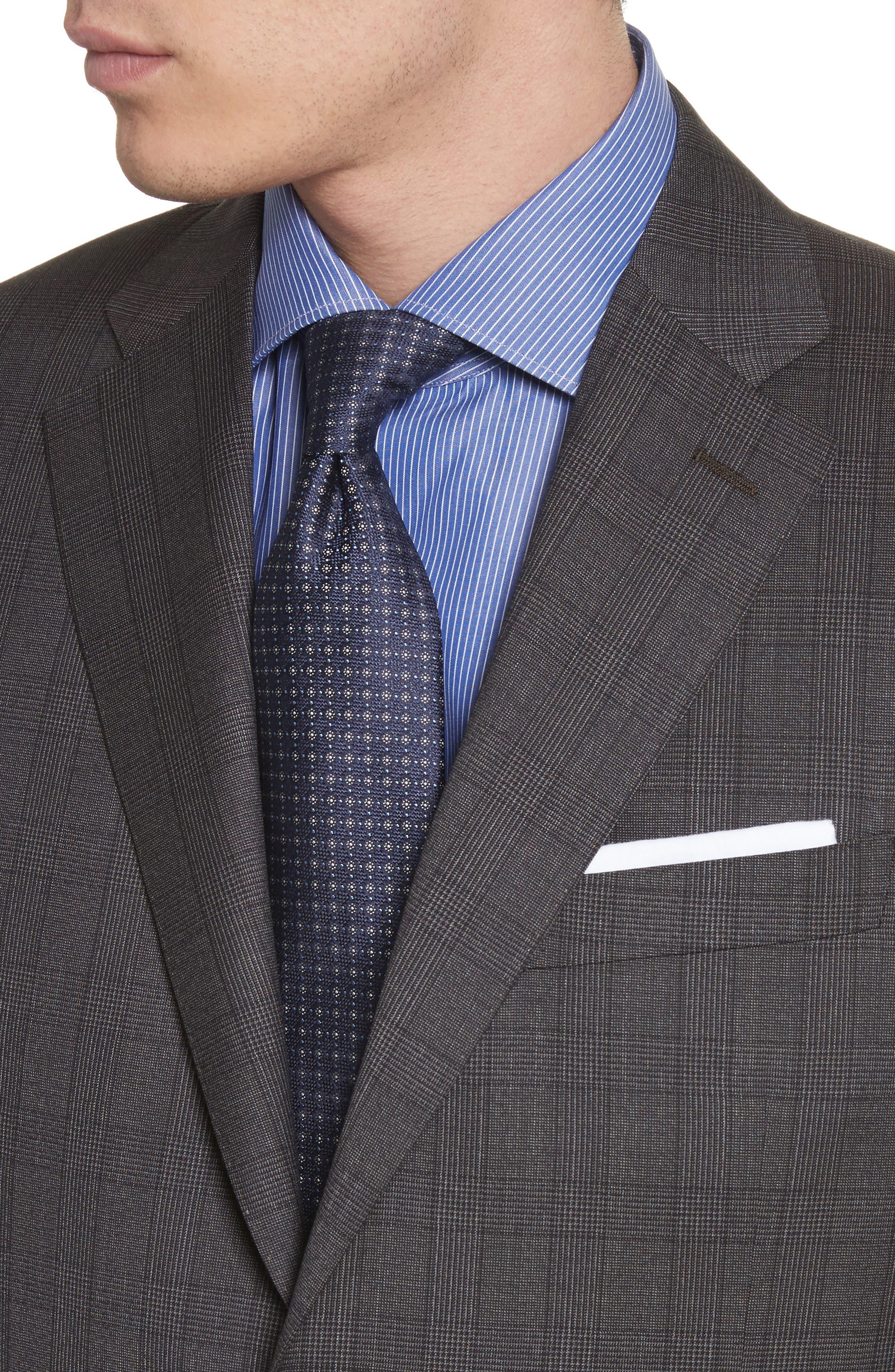 Classic Fit Plaid Wool Suit,                             Alternate thumbnail 4, color,                             Brown