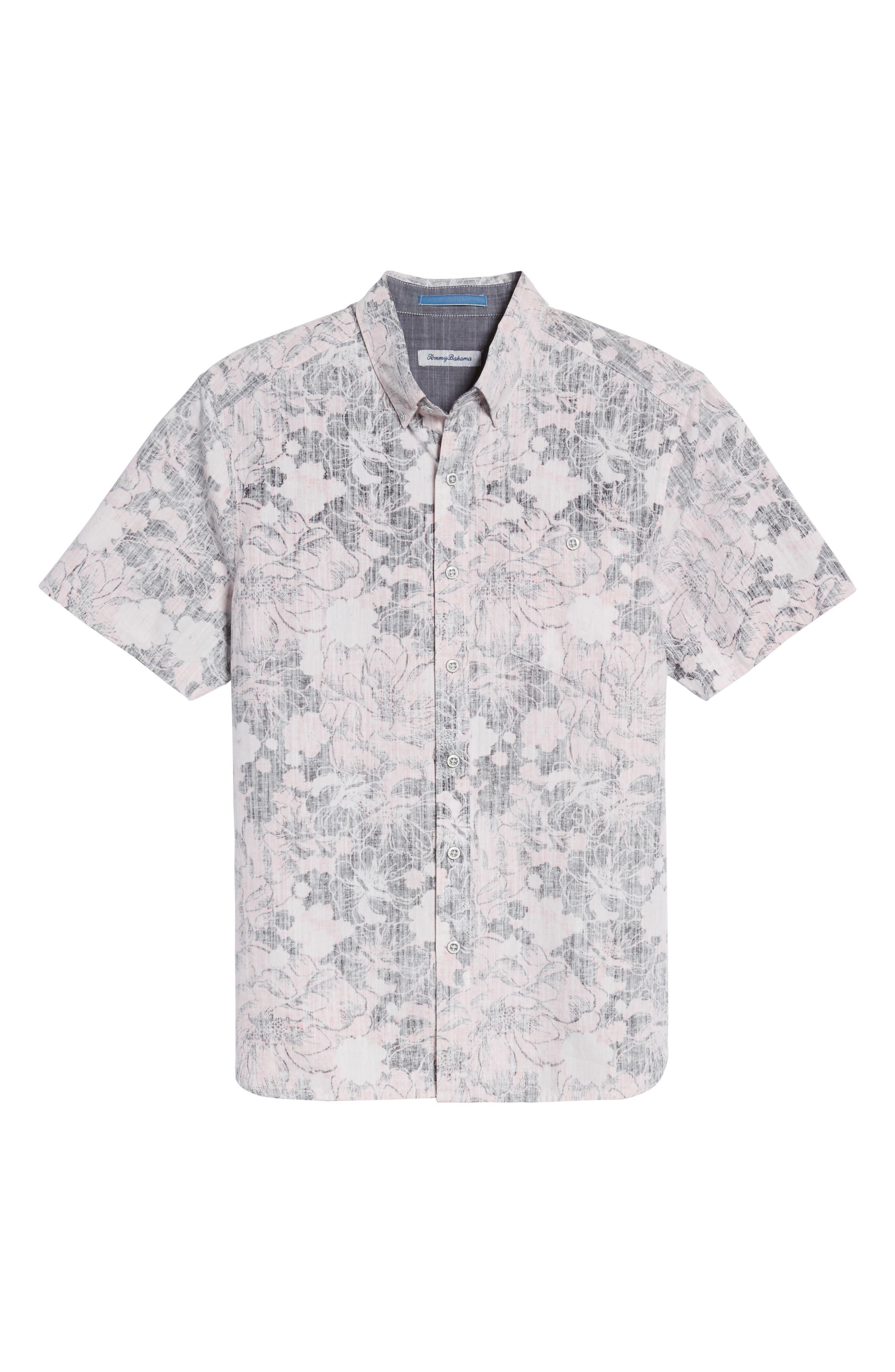 Seaspray Floral Sport Shirt,                             Alternate thumbnail 6, color,                             Soft Flamingo