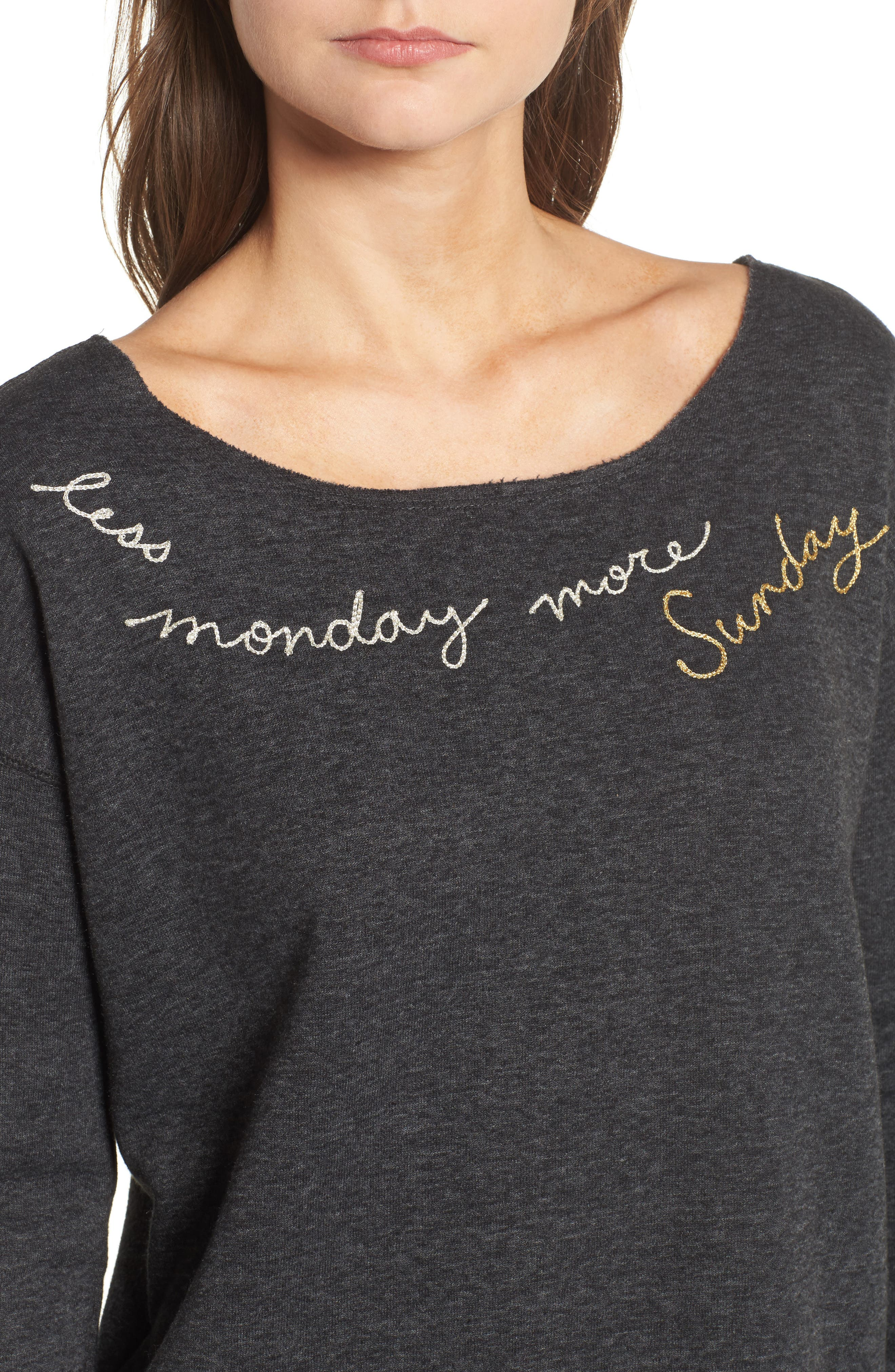 Less Monday More Sunday Sweatshirt,                             Alternate thumbnail 4, color,                             Charcoal