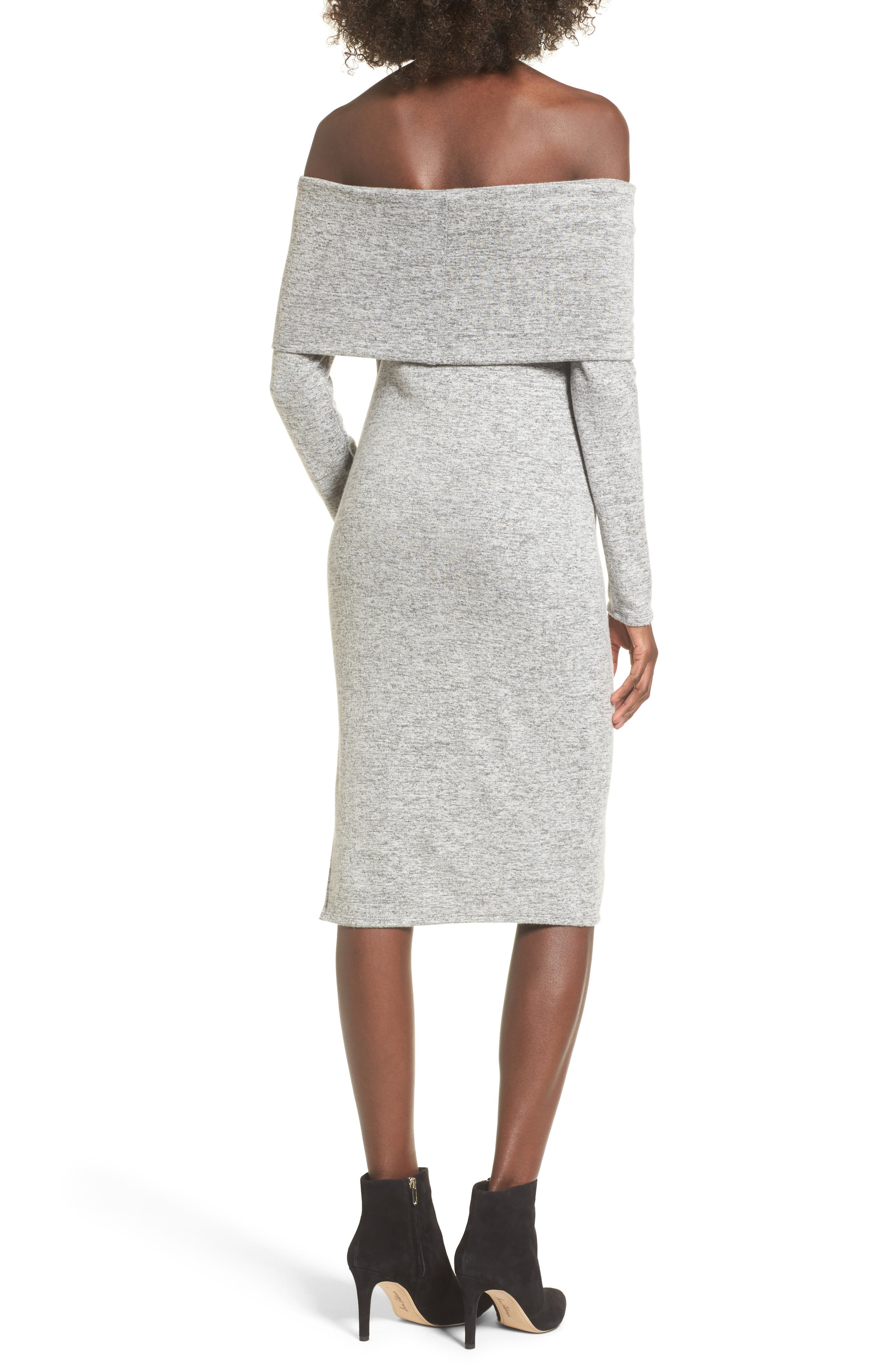Off the Shoulder Sweater Dress,                             Alternate thumbnail 2, color,                             H Grey