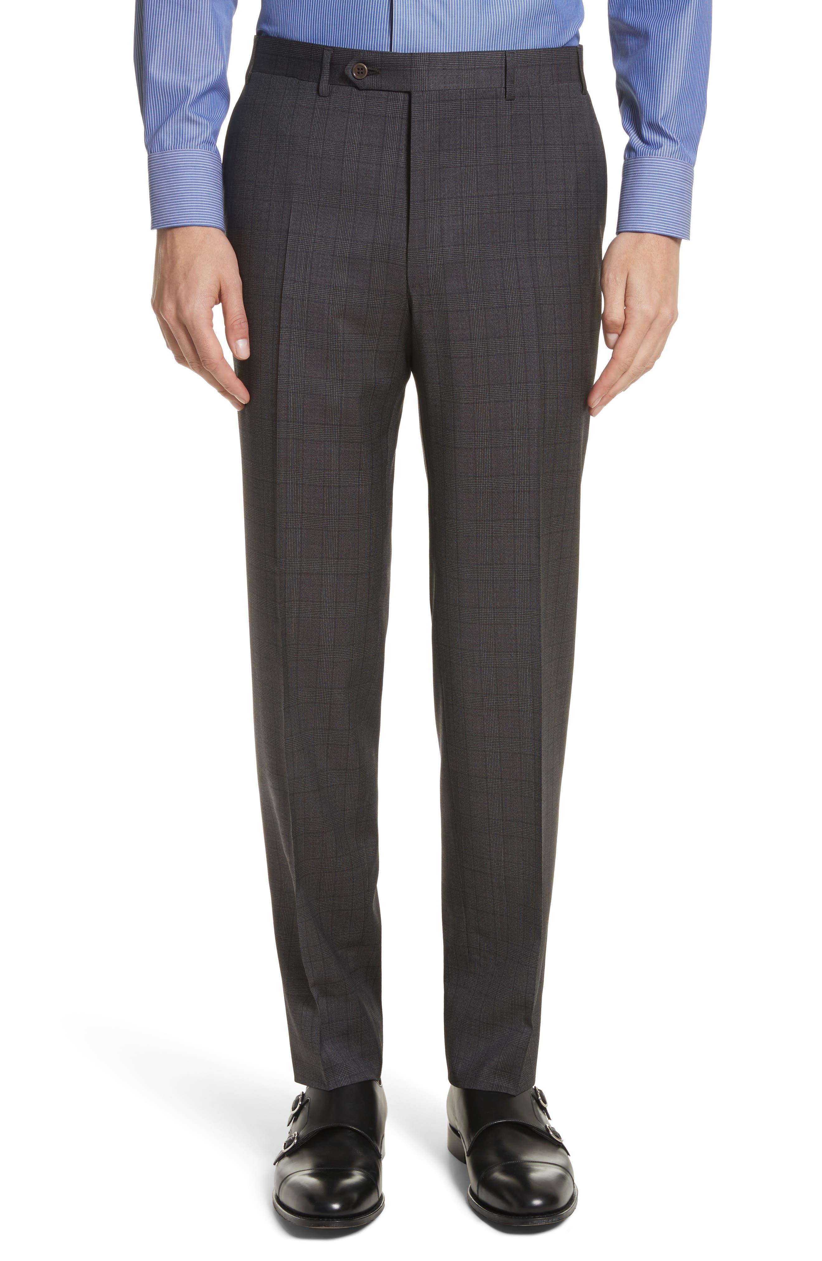 Classic Fit Plaid Wool Suit,                             Alternate thumbnail 6, color,                             Brown
