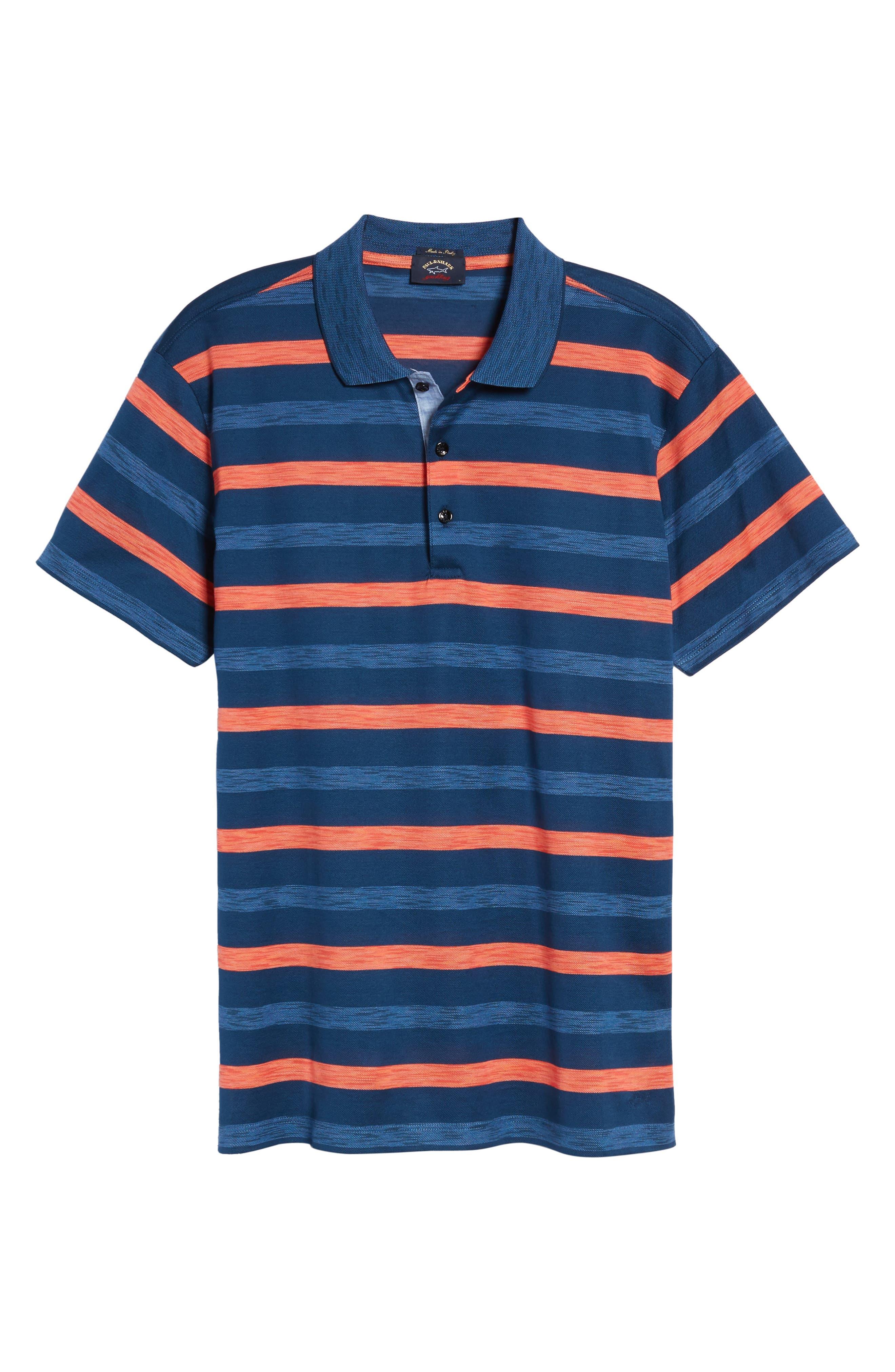 Paul&Shark Stripe Piqué Polo,                             Alternate thumbnail 6, color,                             Blue/ Orange