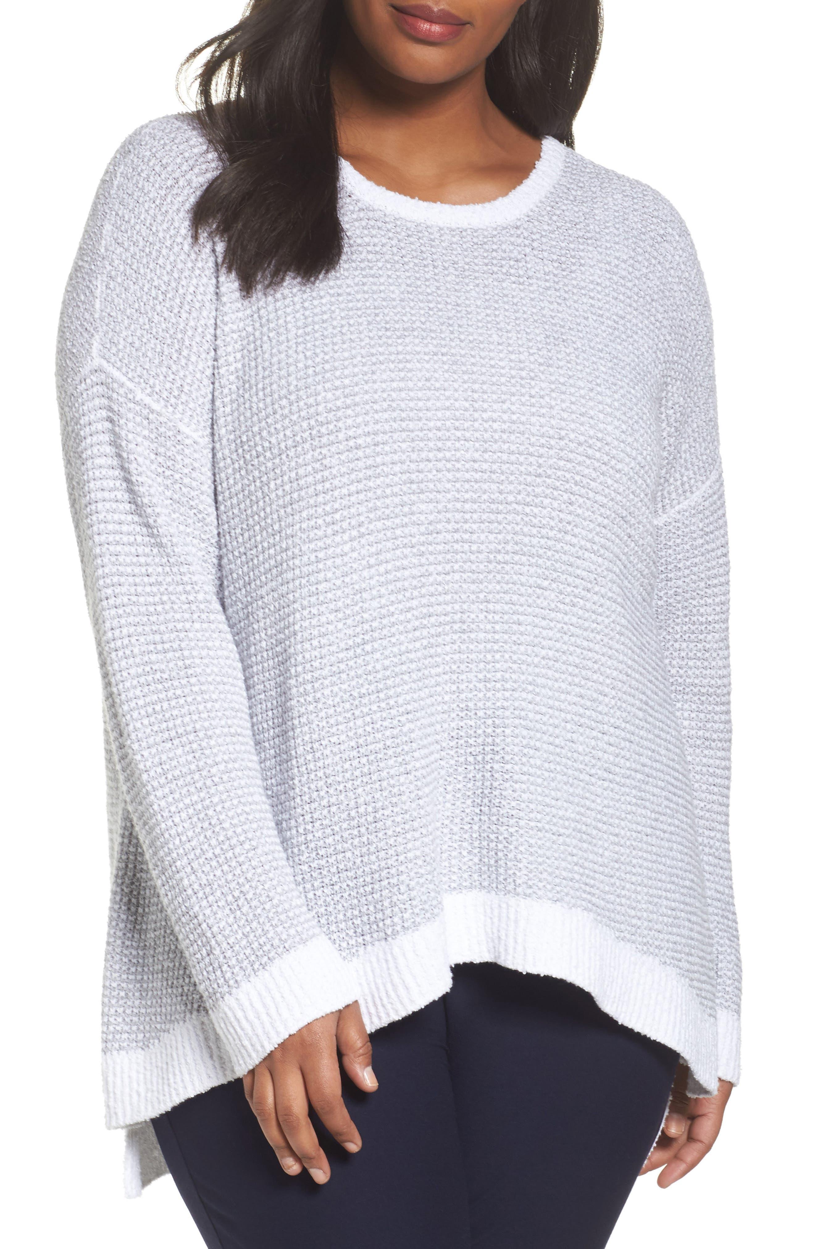 Main Image - Eileen Fisher Waffled Organic Cotton Sweater (Plus Size)