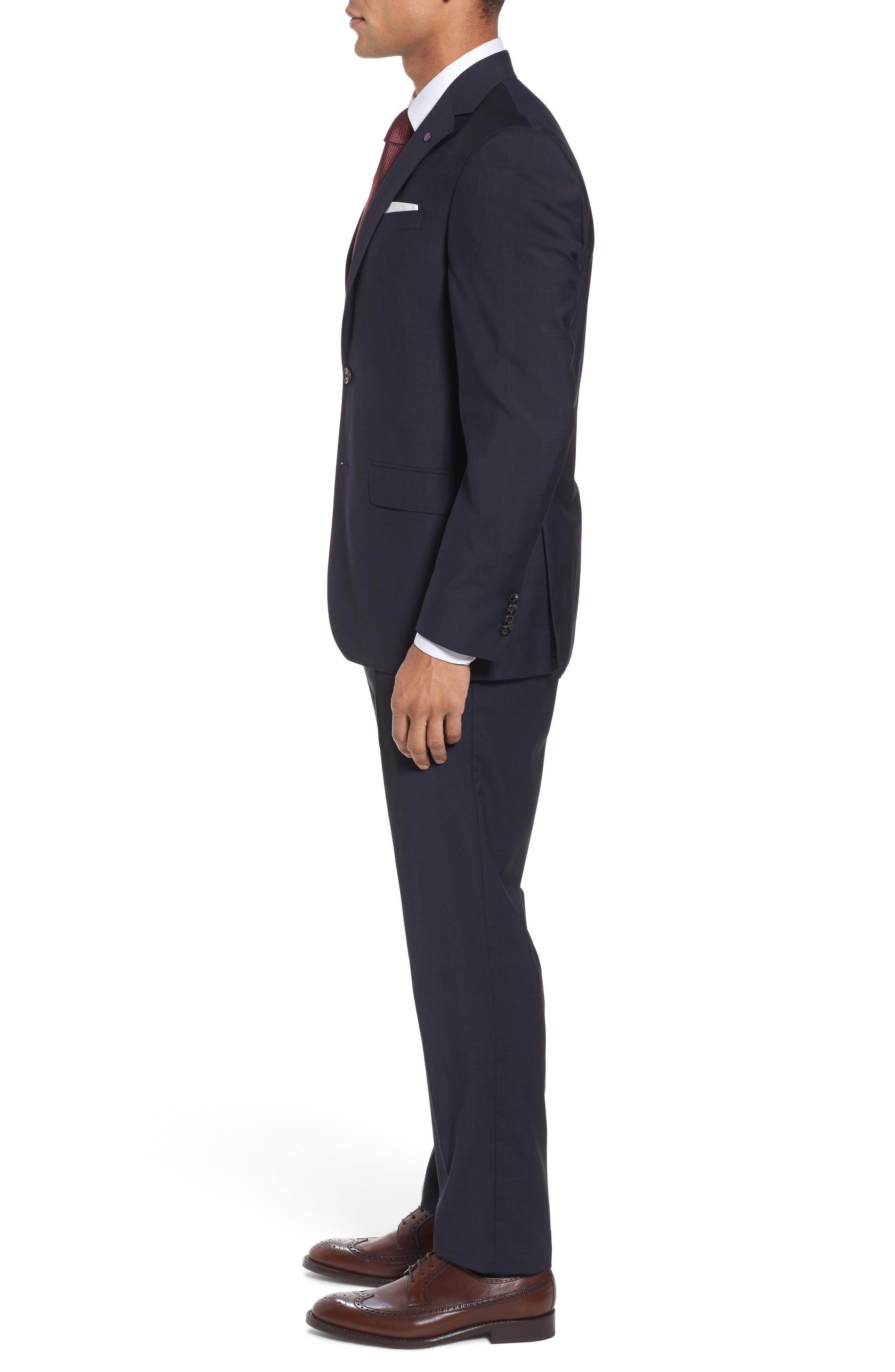 Jay Trim Fit Plaid Wool Suit,                             Alternate thumbnail 3, color,                             Black