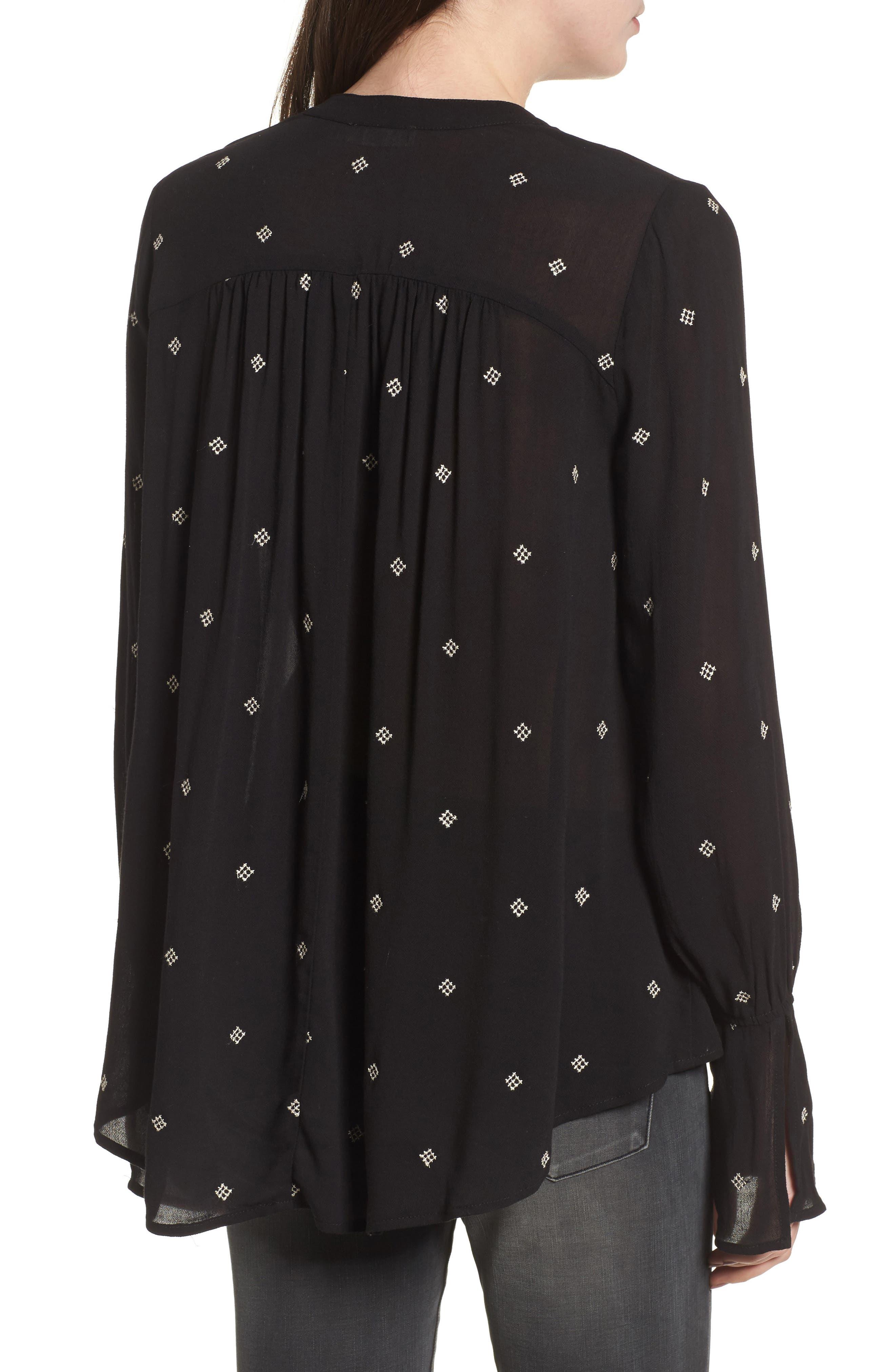 Split Neck Button Front Shirt,                             Alternate thumbnail 2, color,                             Black