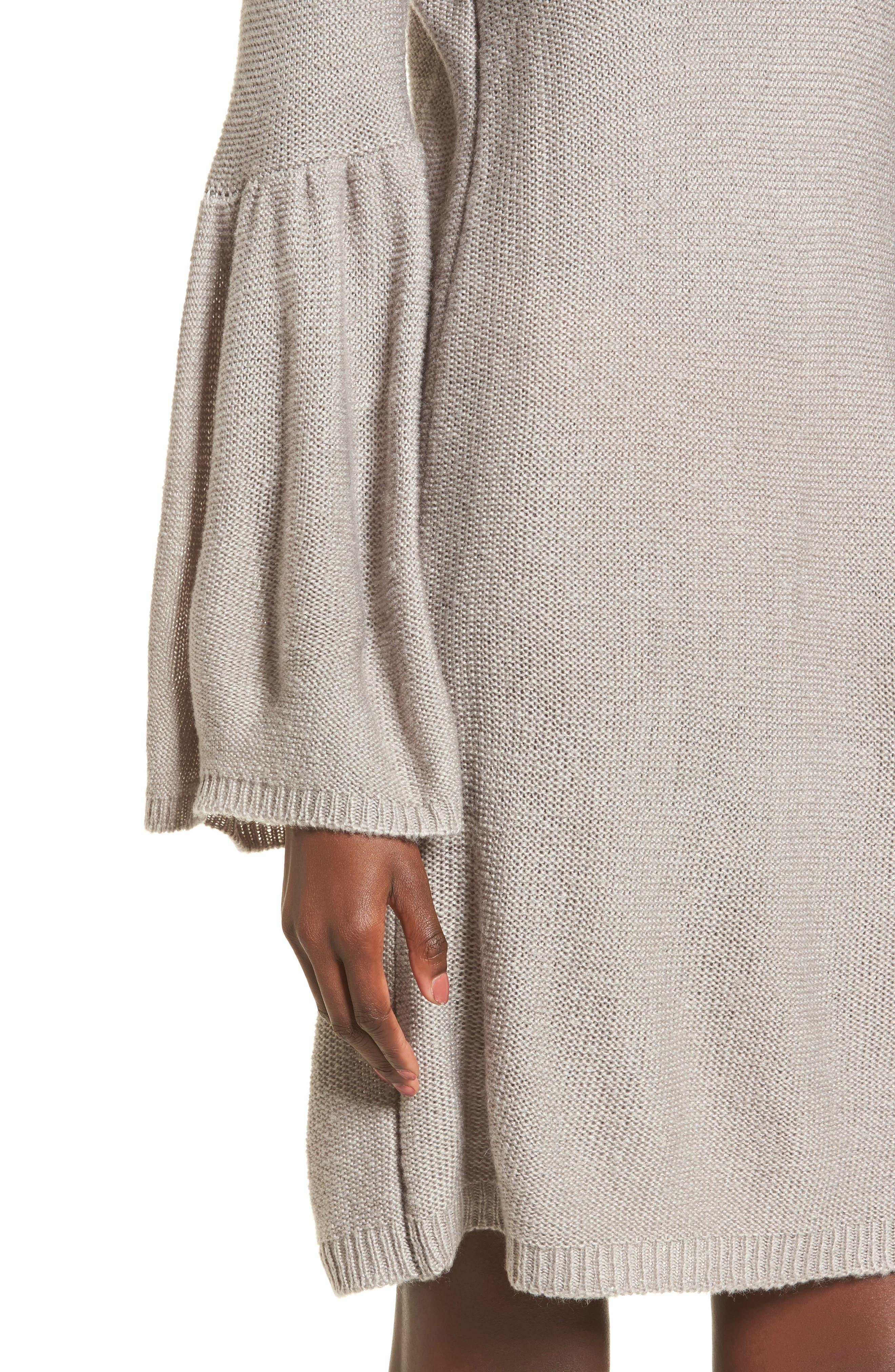 Bell Sleeve Sweater Dress,                             Alternate thumbnail 4, color,                             Light Heather Grey
