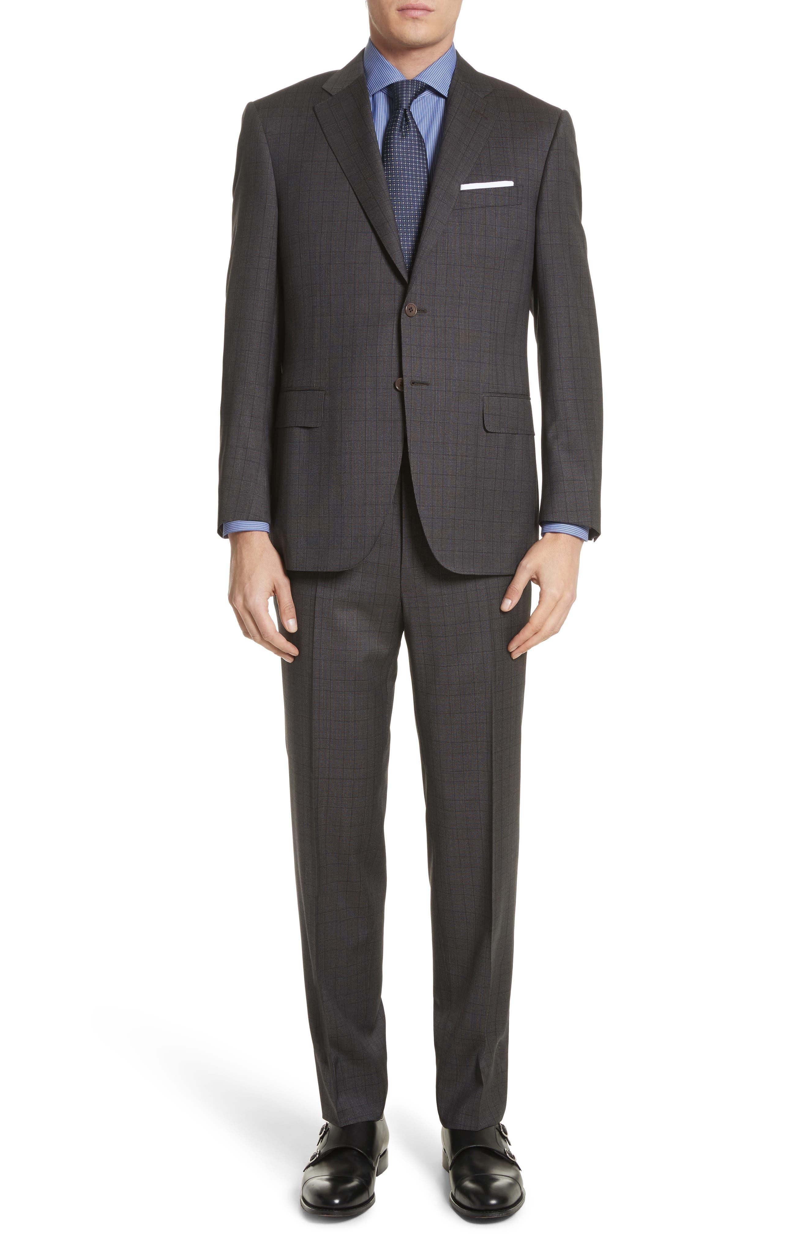 Classic Fit Plaid Wool Suit,                             Main thumbnail 1, color,                             Brown