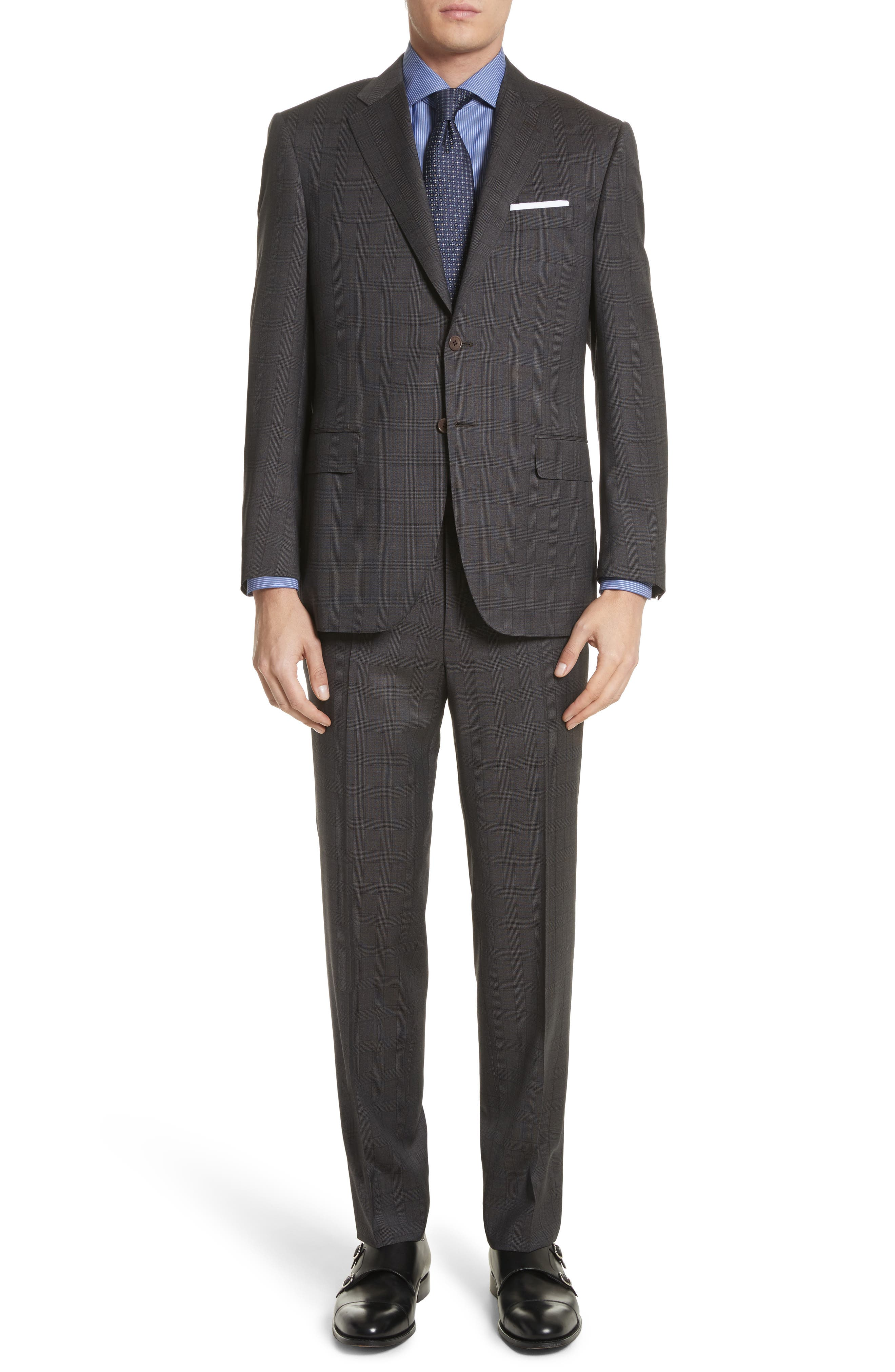 Classic Fit Plaid Wool Suit,                         Main,                         color, Brown
