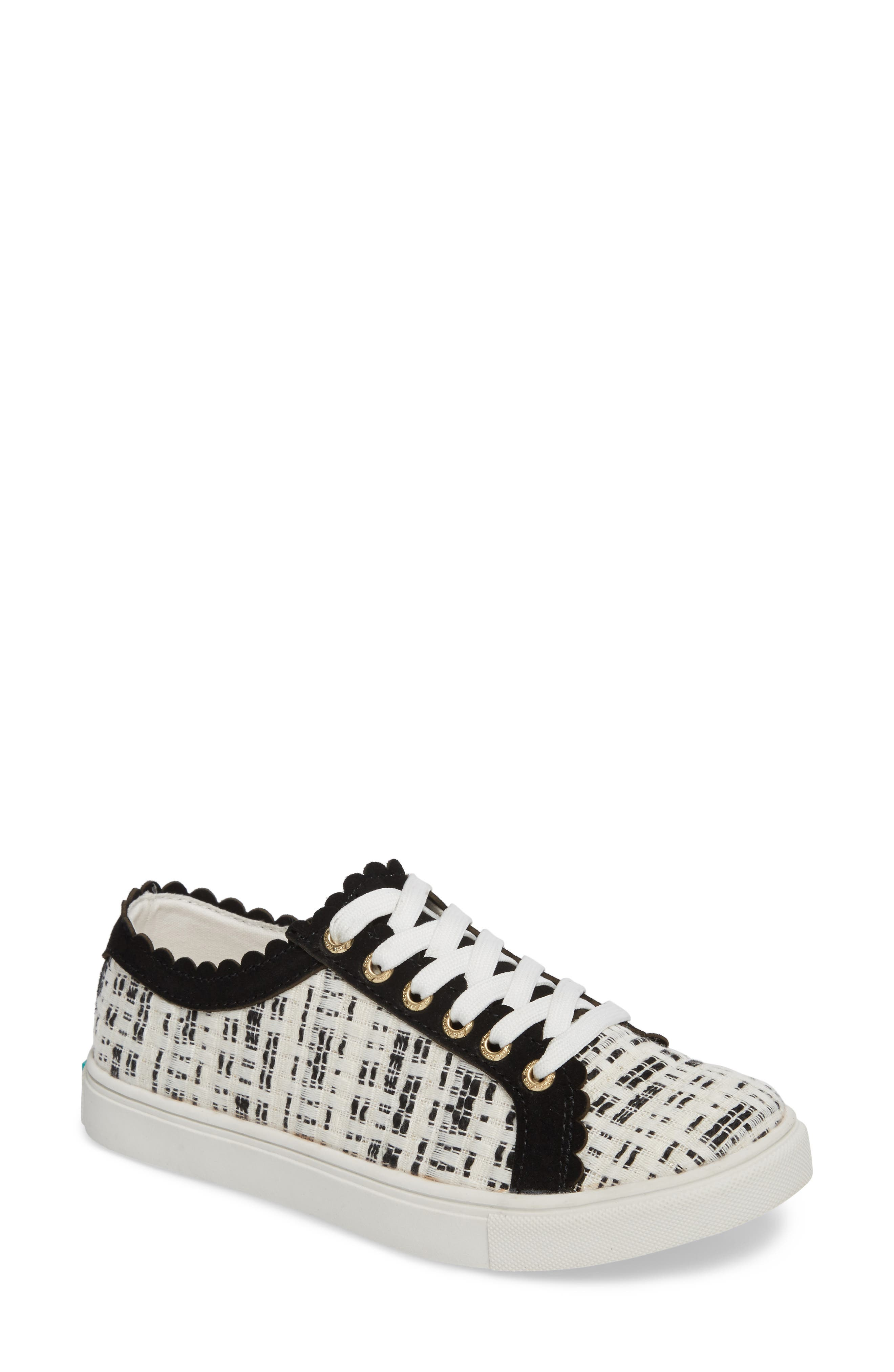 Jack Rogers Women's Scalloped Suede & Tweed Low Top Lace Up Sneakers vW1cPR0