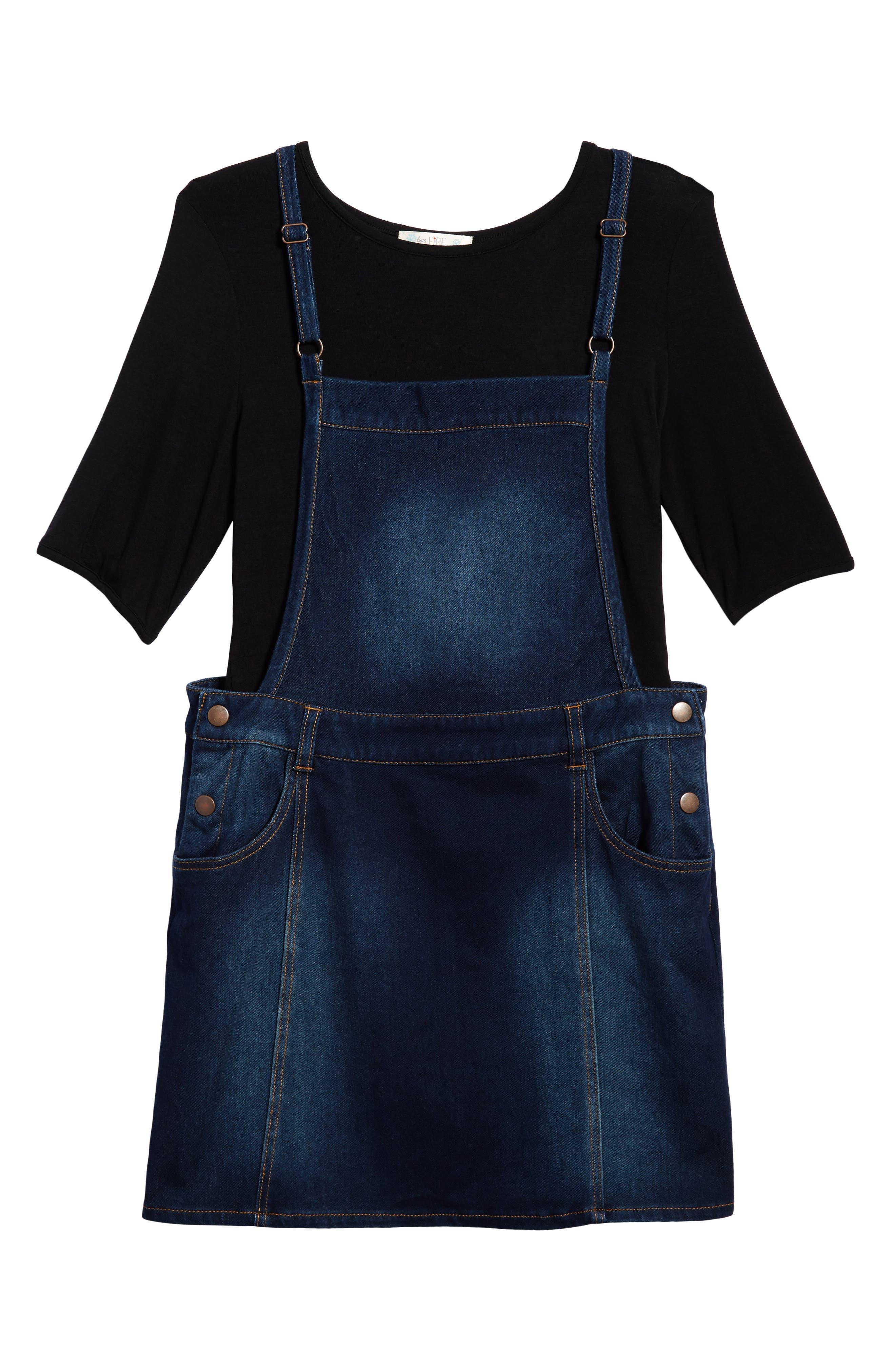 Love, Fire Bell Sleeve Tee & Overall Dress Set (Big Girls)