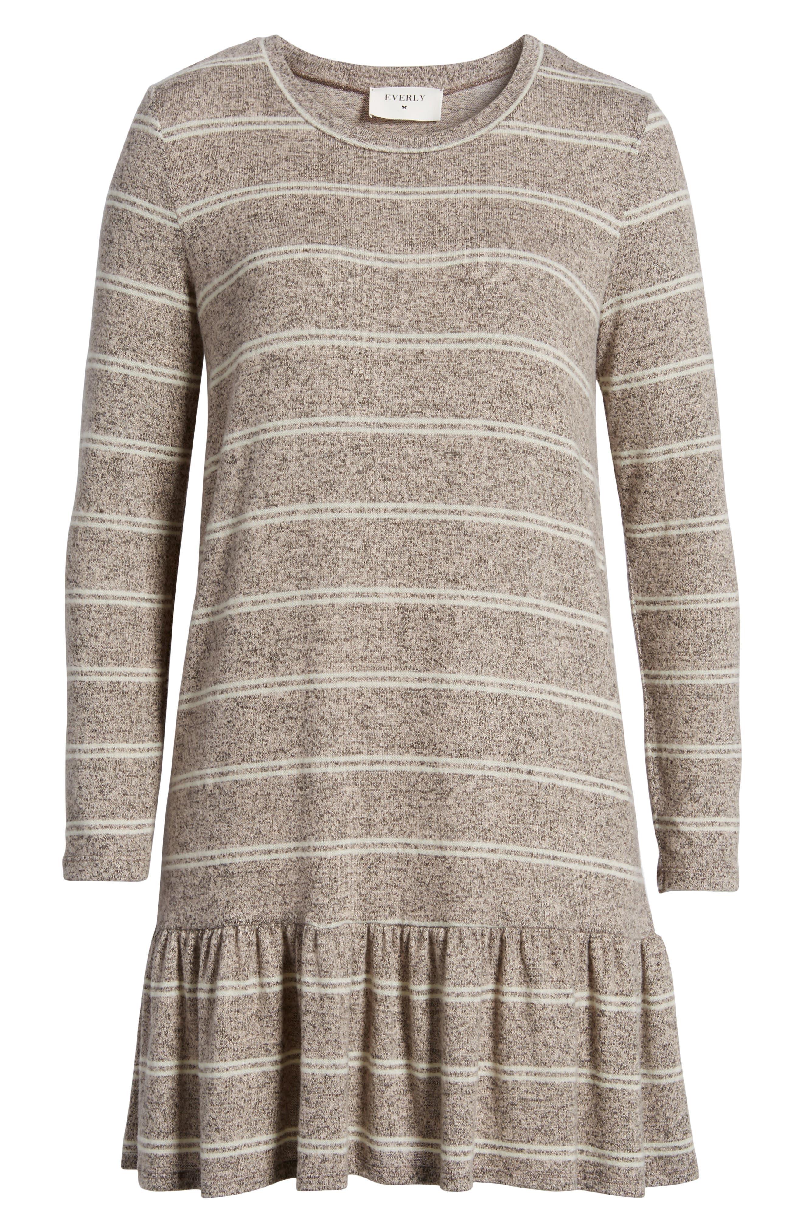 Drop Waist Sweater Dress,                             Alternate thumbnail 6, color,                             Grey/ Ivory