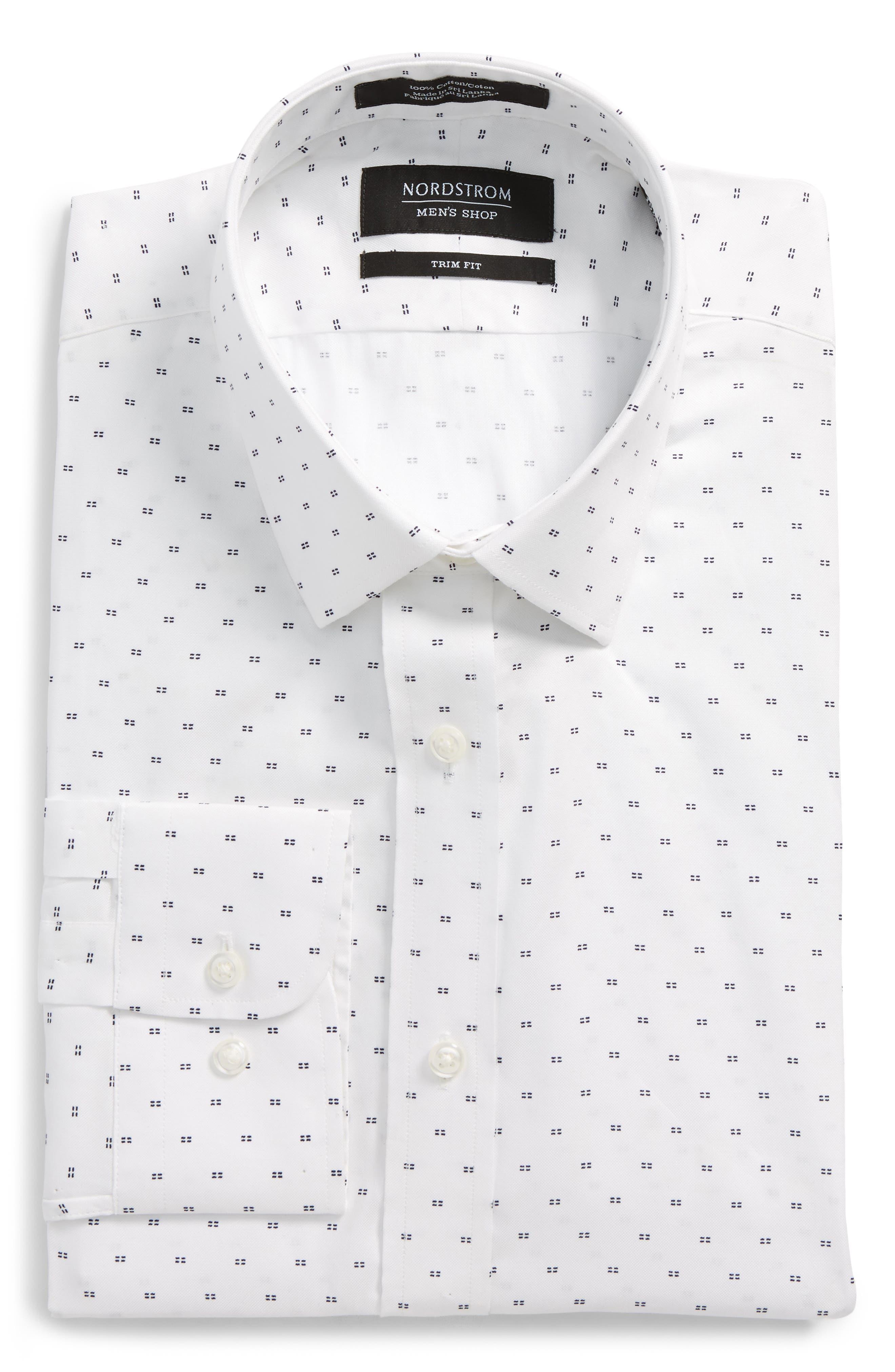Trim Fit Patterned Dress Shirt,                             Main thumbnail 1, color,                             White Navy Evening