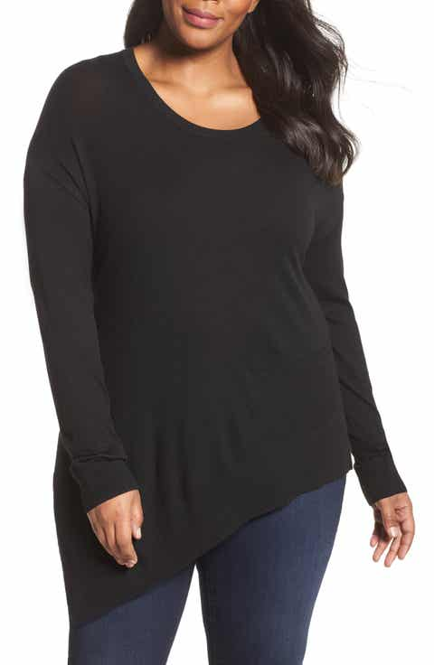 Sejour Asymmetrical Hem Sweater (Plus Size)