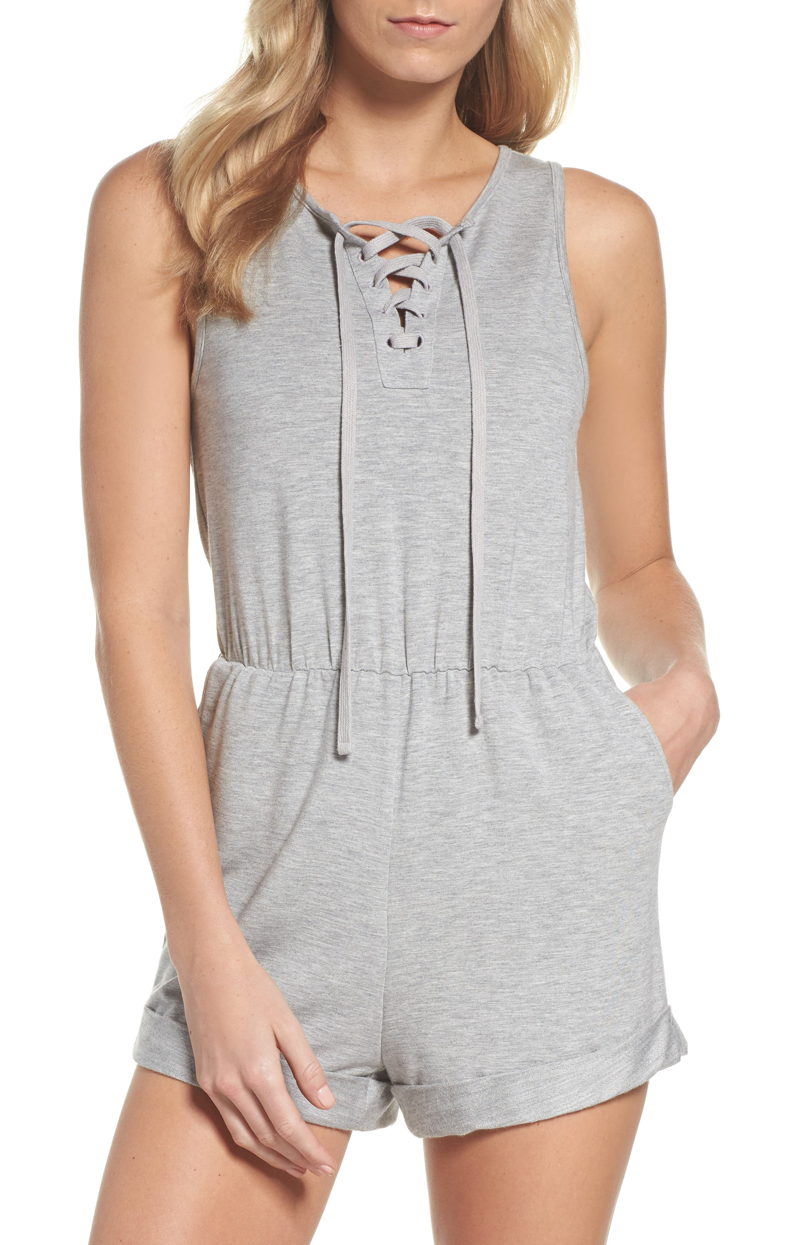 Zuelia French Terry Lounge Romper,                             Main thumbnail 1, color,                             H Grey